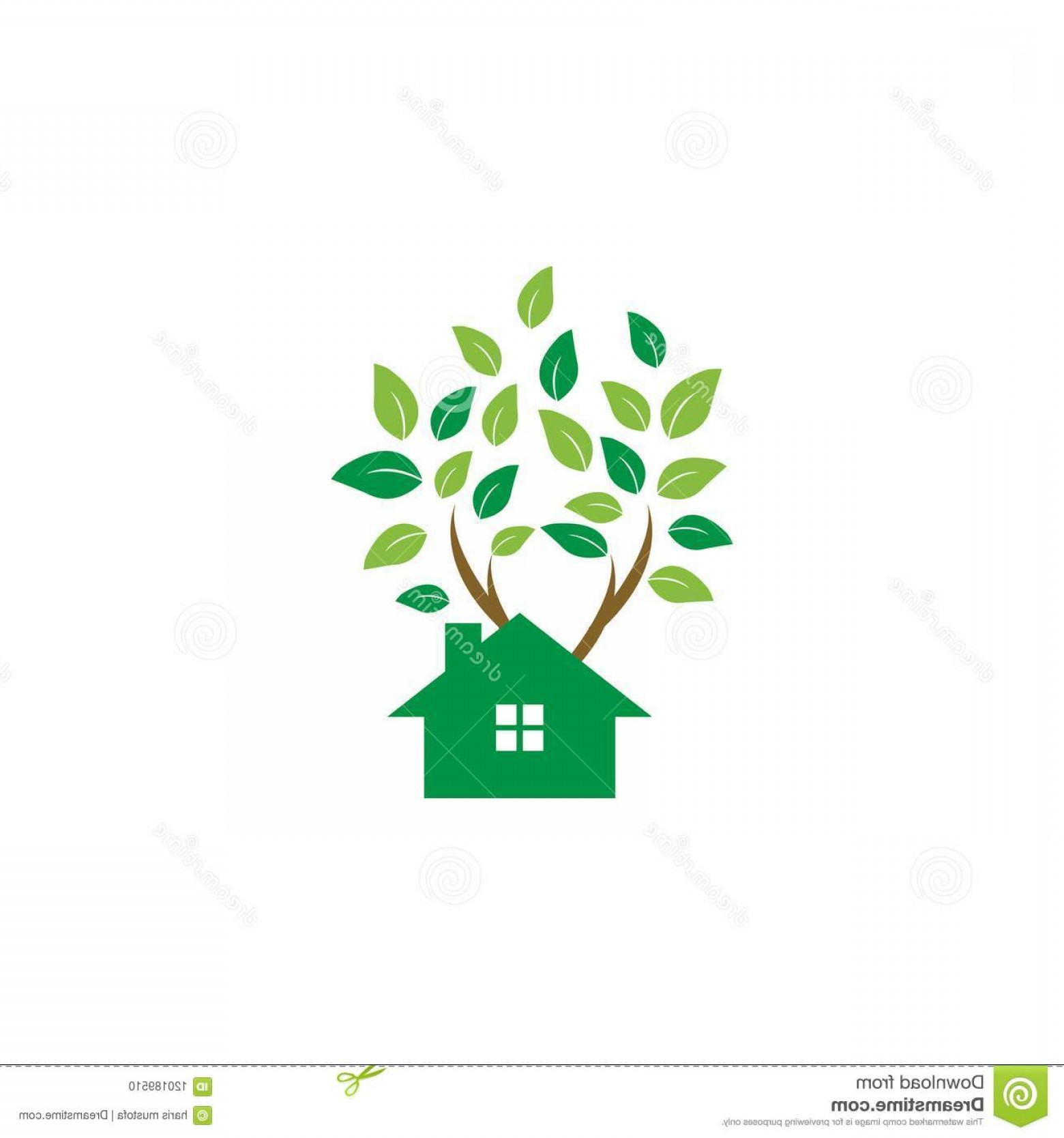 Vector Modern Tree House: Tree House Logo Icon Graphic Template Image