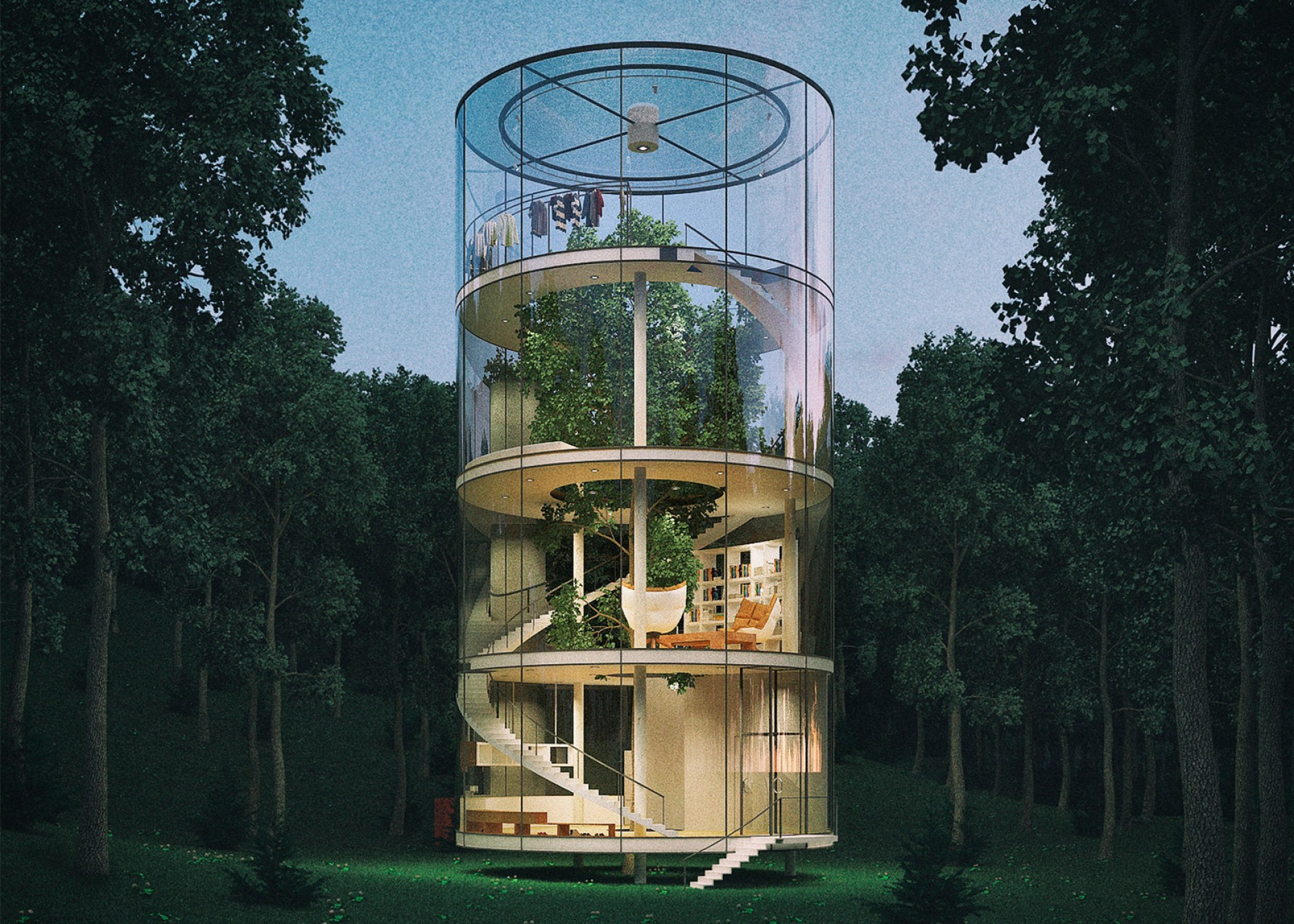 Vector Modern Tree House: Tree In The House By Almassov Of A Masow Architects Conceptual Design Cylindrical Glazed
