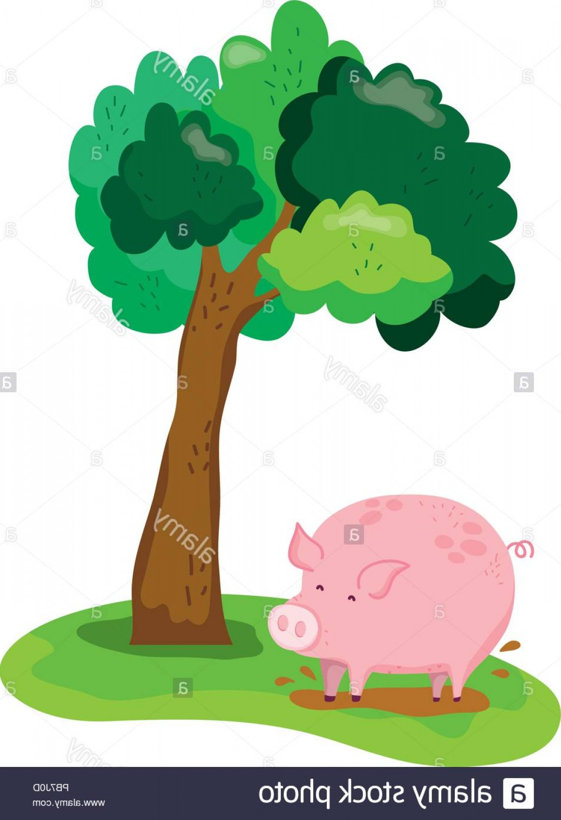 Swamp Vector Art: Tree Next To Pig Farm Animal In Swamp Image