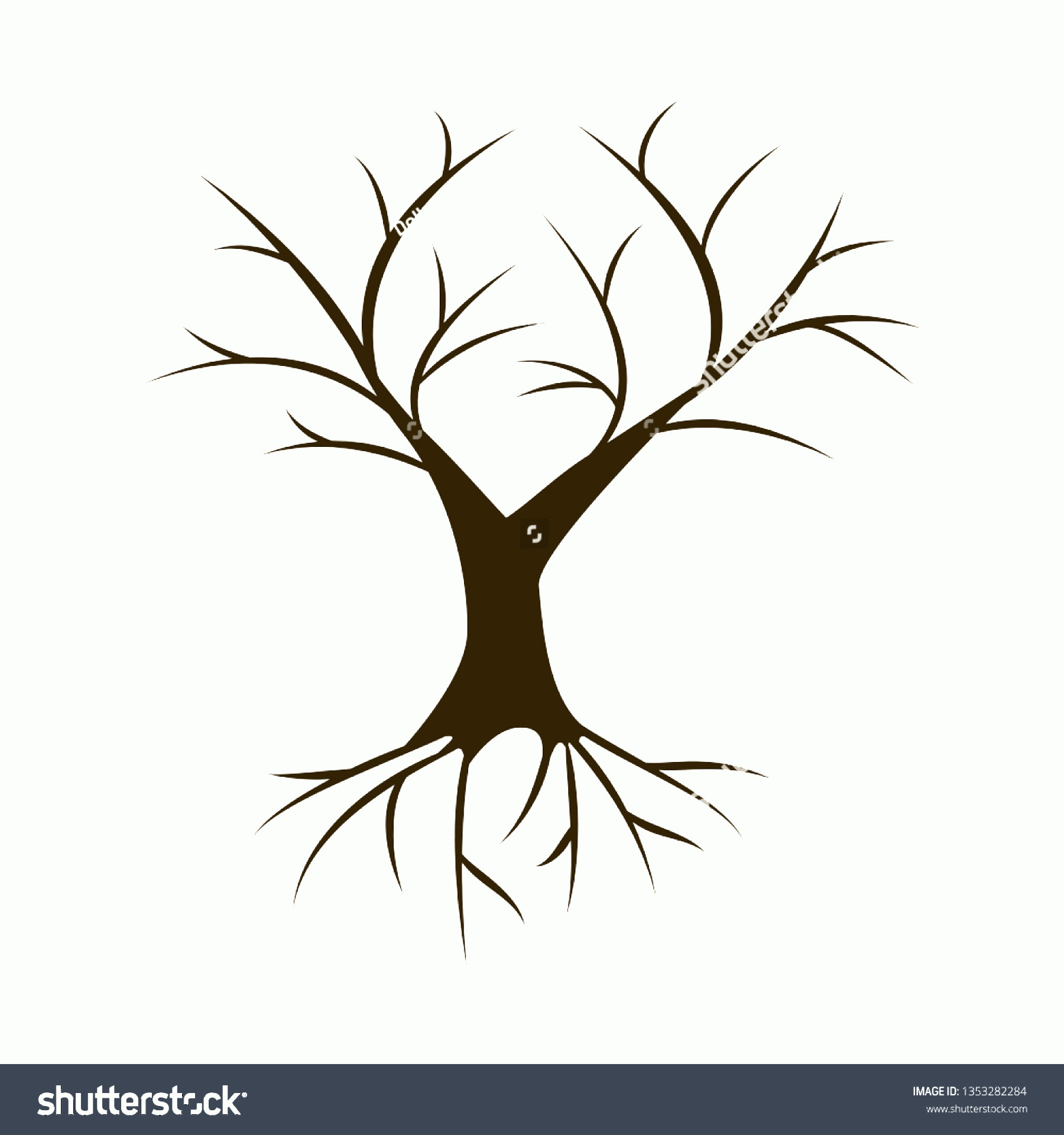 Vector Tree With Roots Drawing: Tree Roots Isolated On White Background