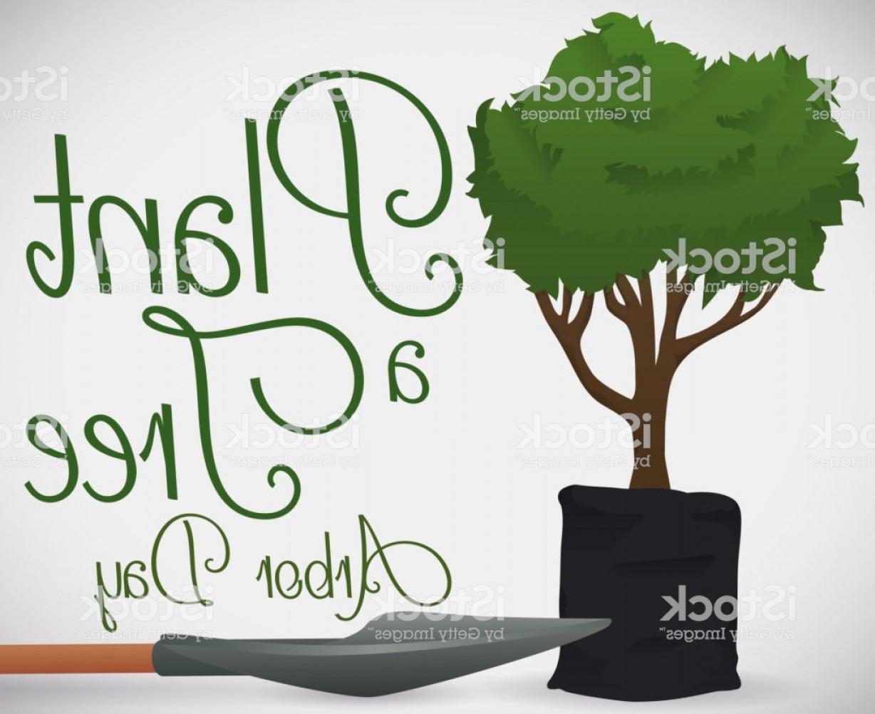 Sapling Vector Tree Silhouette Art: Tree Sapling In Seedling Bag And Shovel For Arbor Day Gm