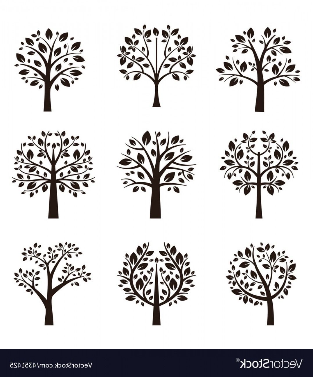 Continuous Tree Branch Vector Image: Tree Silhouette With Roots And Branches Vector