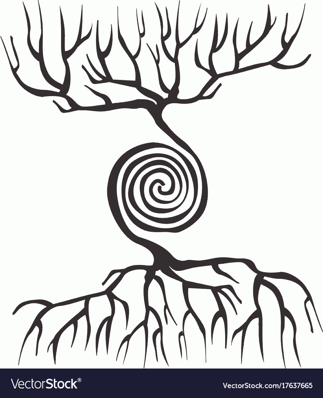 Vector Tree With Roots Drawing: Tree Symbol With Roots And A Spiral Vector