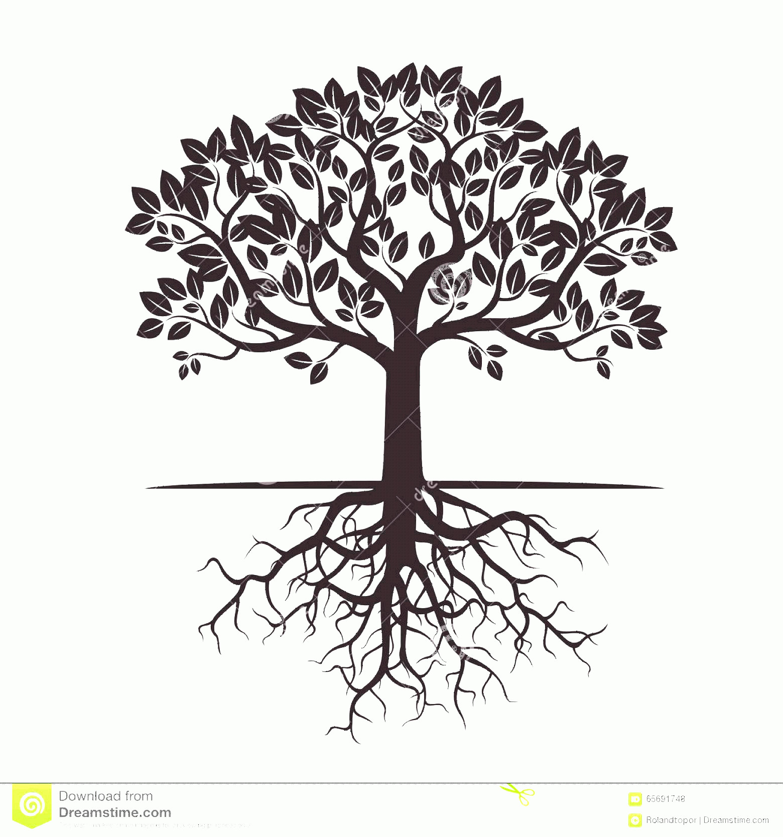 Vector Tree With Roots Drawing: Tree With Roots Silhouette Vector