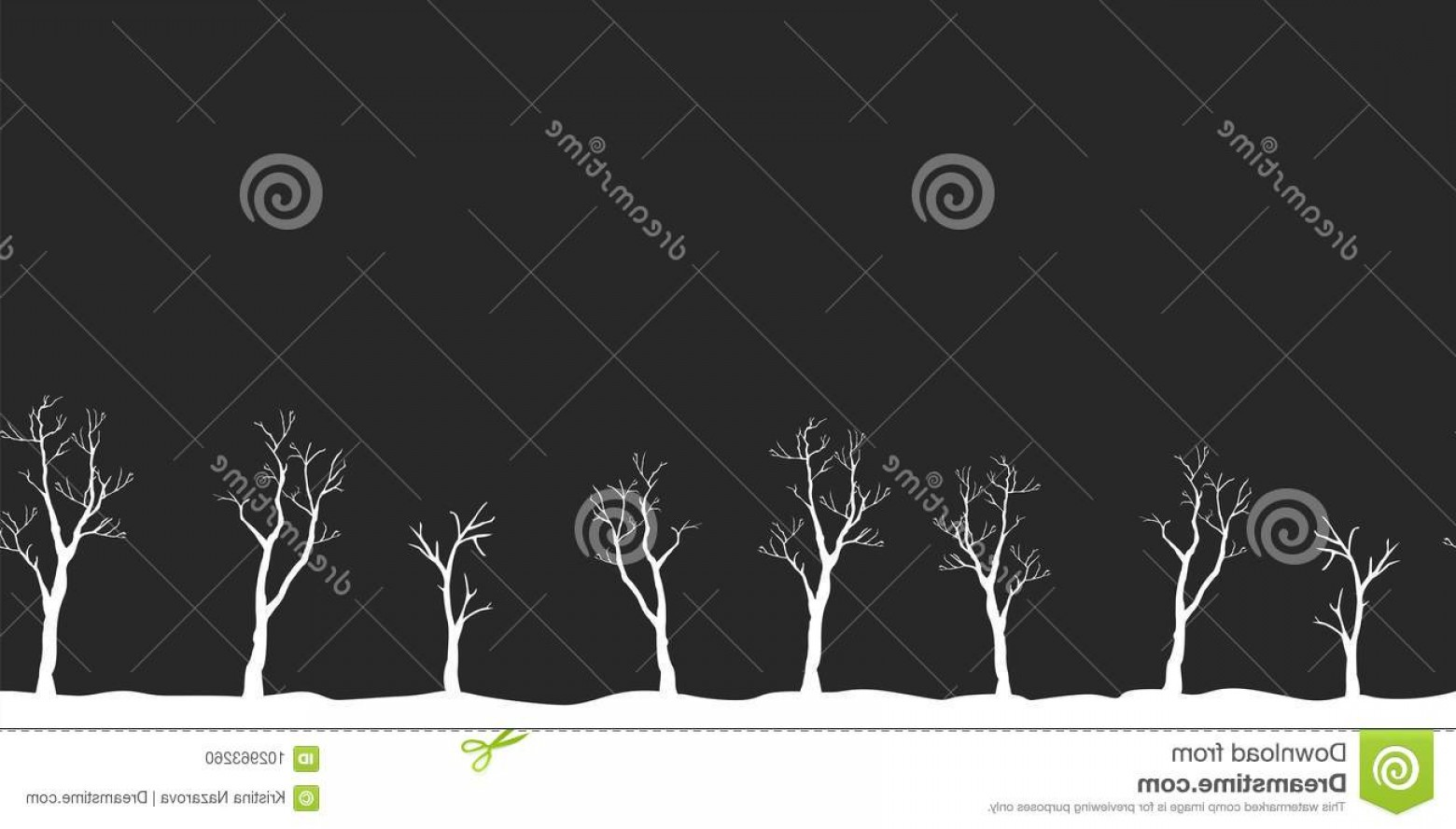 Continuous Tree Branch Vector Image: Trees No Leaves Continuous Pattern Partly Seamless Vecto Vector Illustration Image