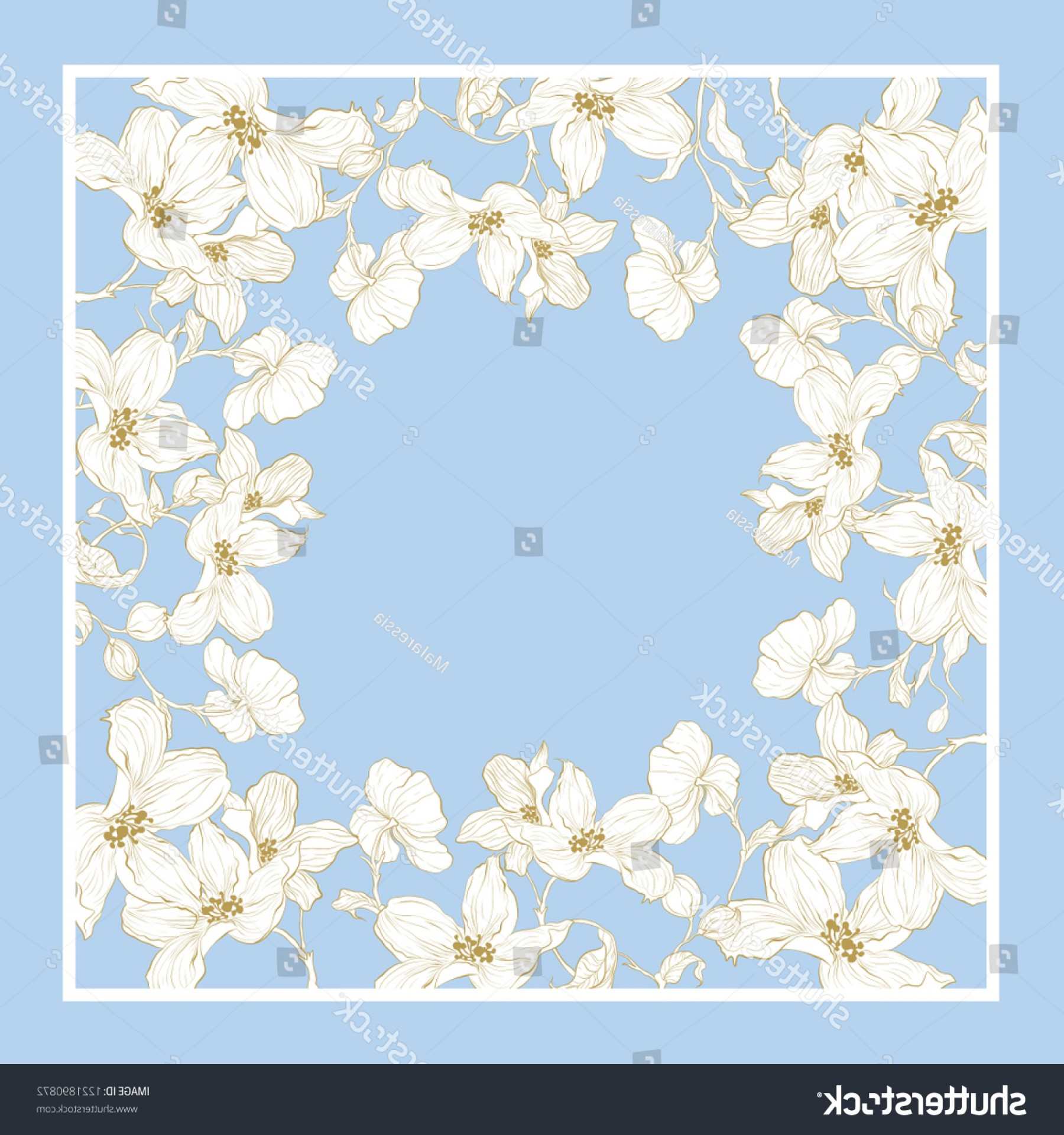 Gold And Blue Flower Vector: Trend Colorful Silk Scarf Flowers Gold