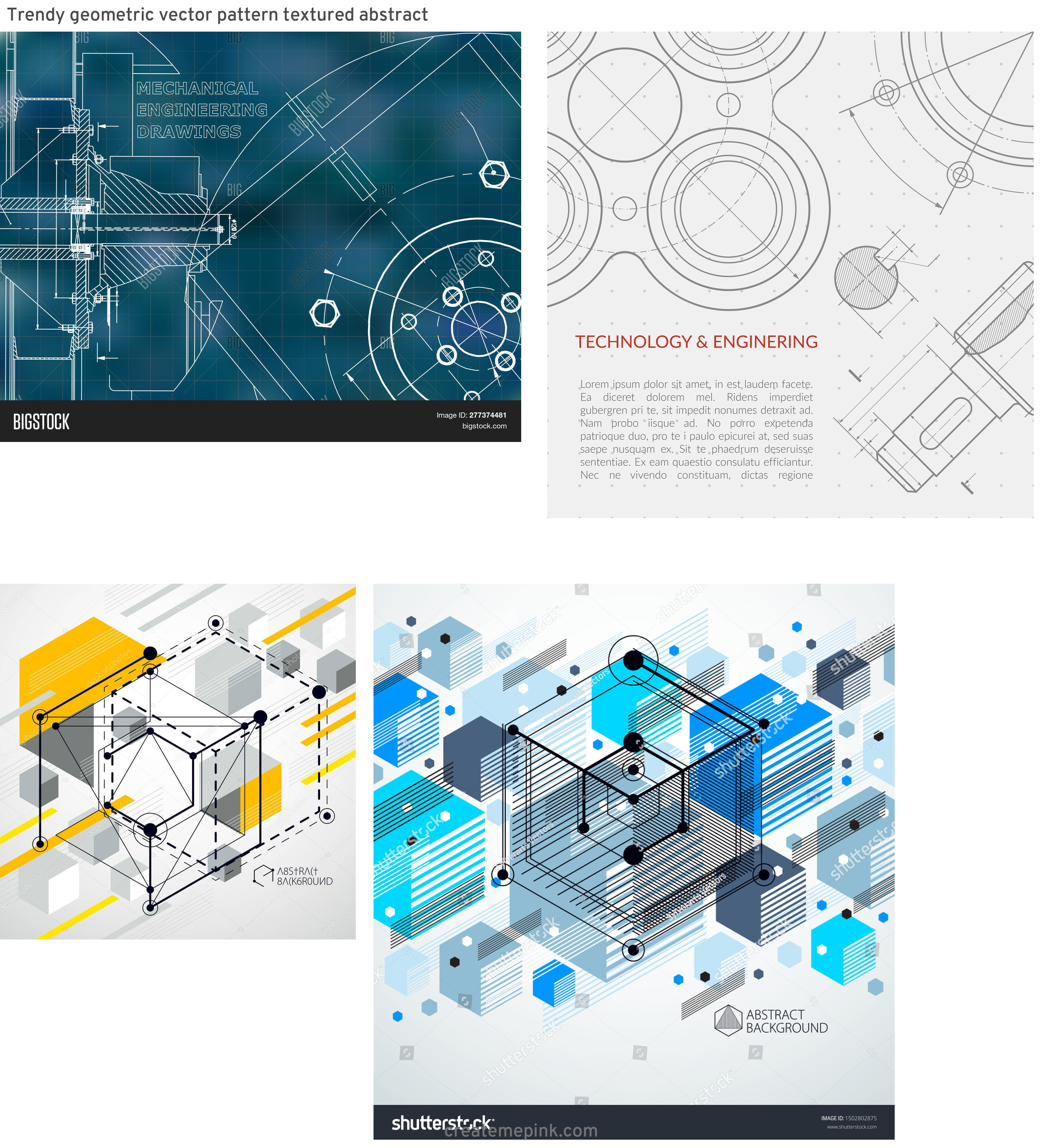 Engineering Vector Pattern: Trendy Geometric Vector Pattern Textured Abstract