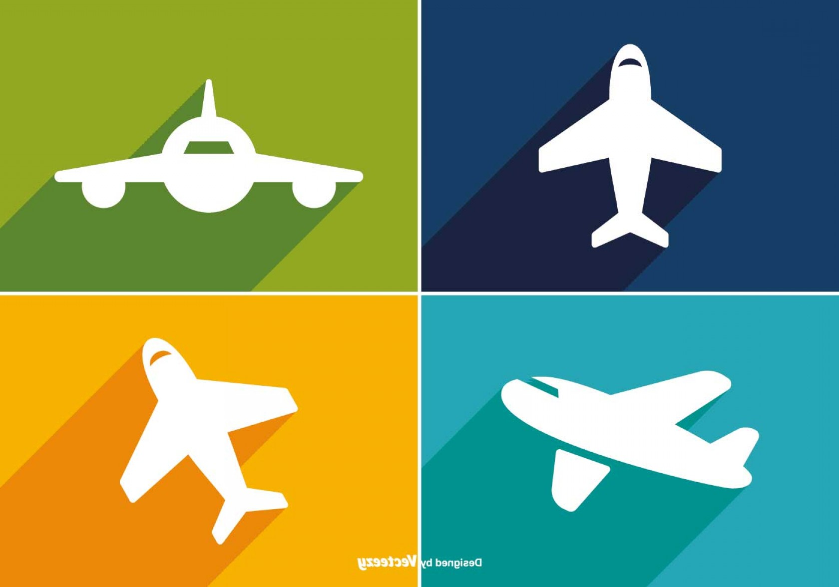 Airplane Travel Vectors: Trendy Long Shadow Airplane Icon Set