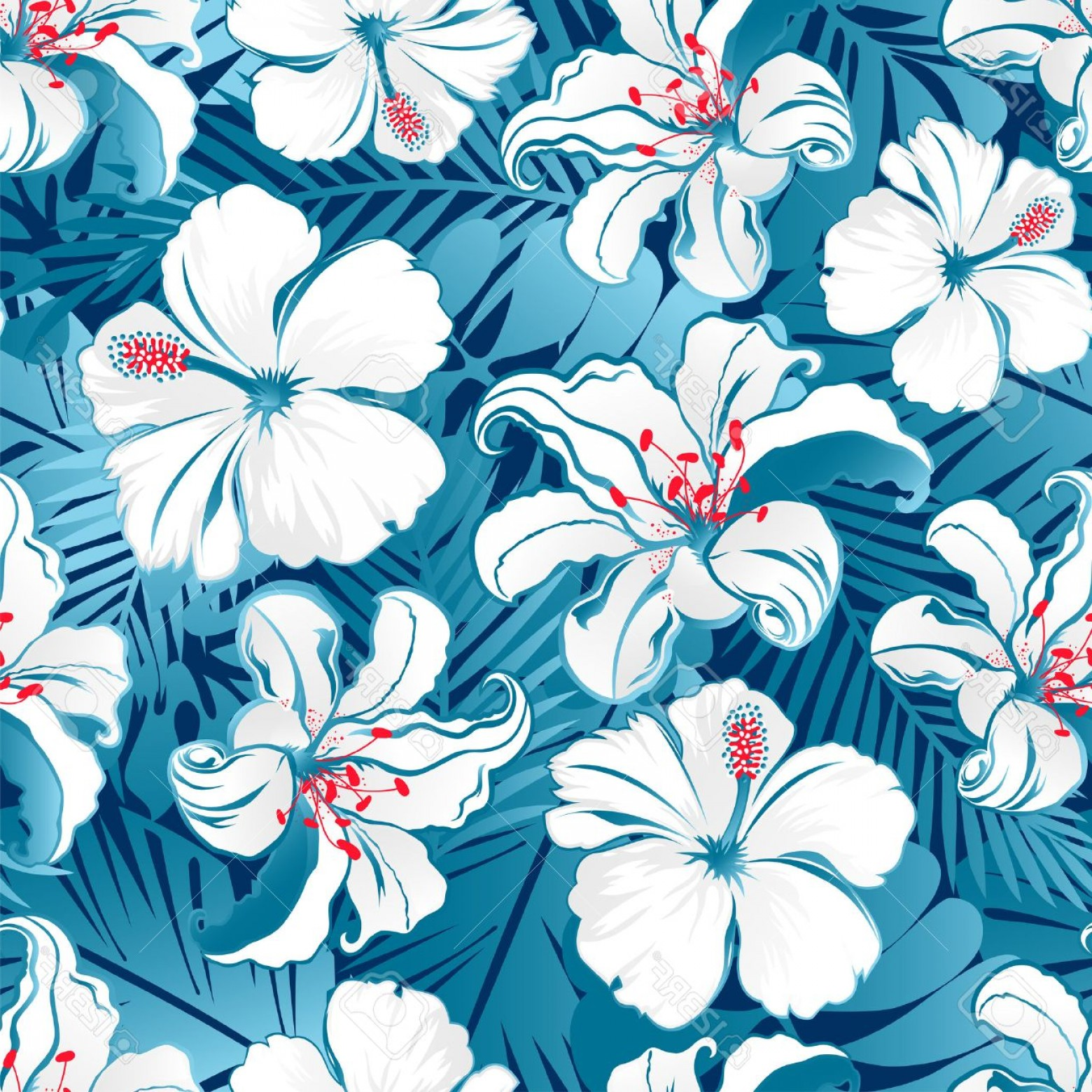 Hawaiian Flower Seamless Vector Pattern: Trendy Photostock Vector White Tropical Hibiscus Flowers Seamless Pattern On A Blue Background