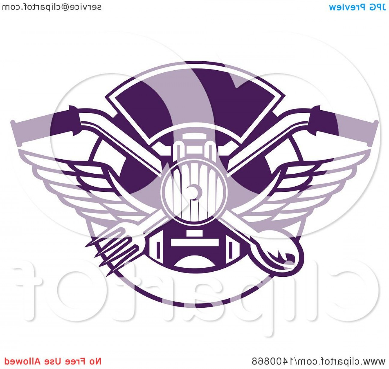 Headlight Vector Png: Trendy Retro Crossed Spoon And Fork Over Motorcycle Handlebars And Headlamp In A Purple And White Plate Circle