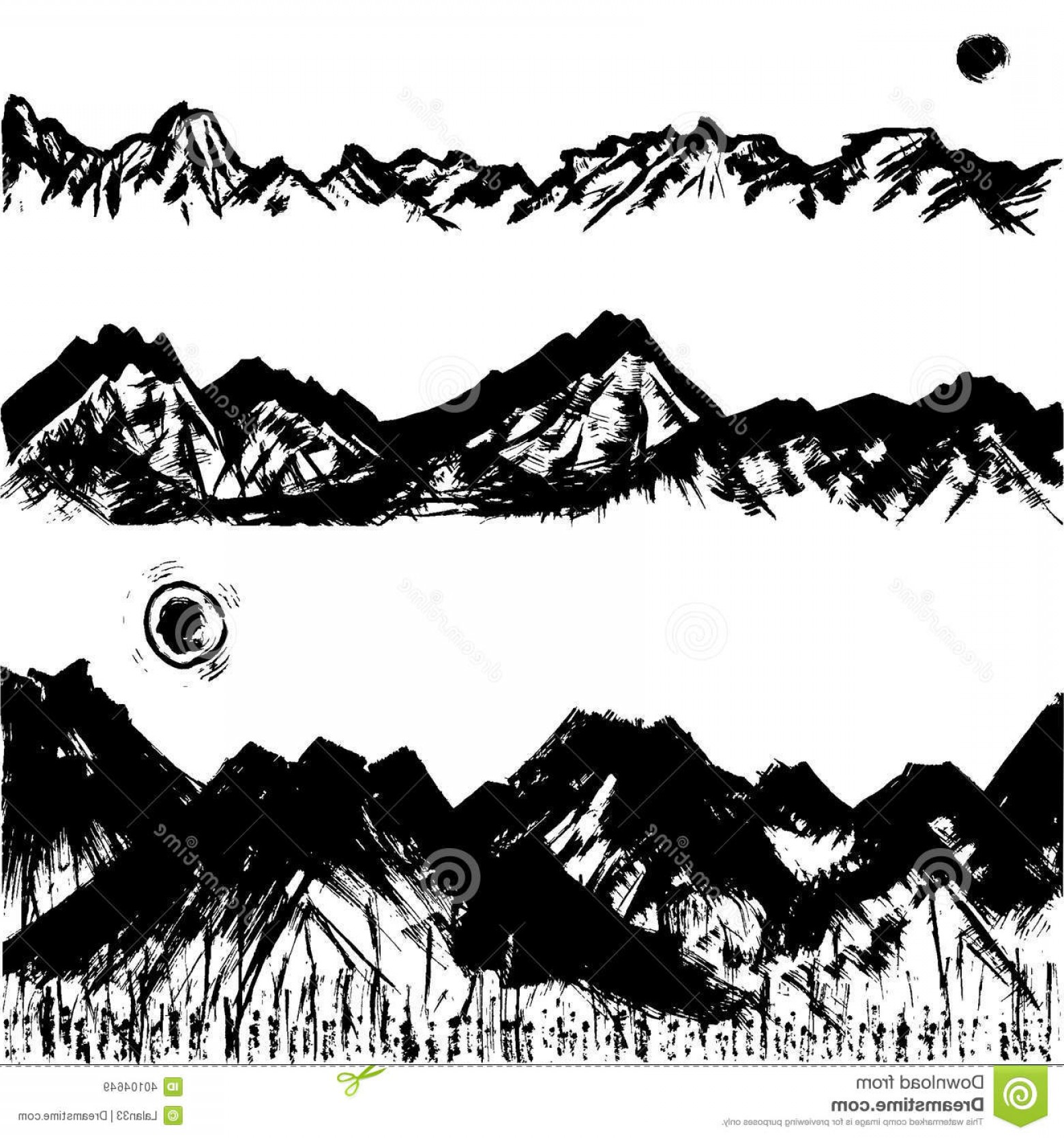 Mountain Range Silhouette Vector Free: Trendy Royalty Free Stock Images Mountain Range Handwritten Brush Stroke Illustrations Image
