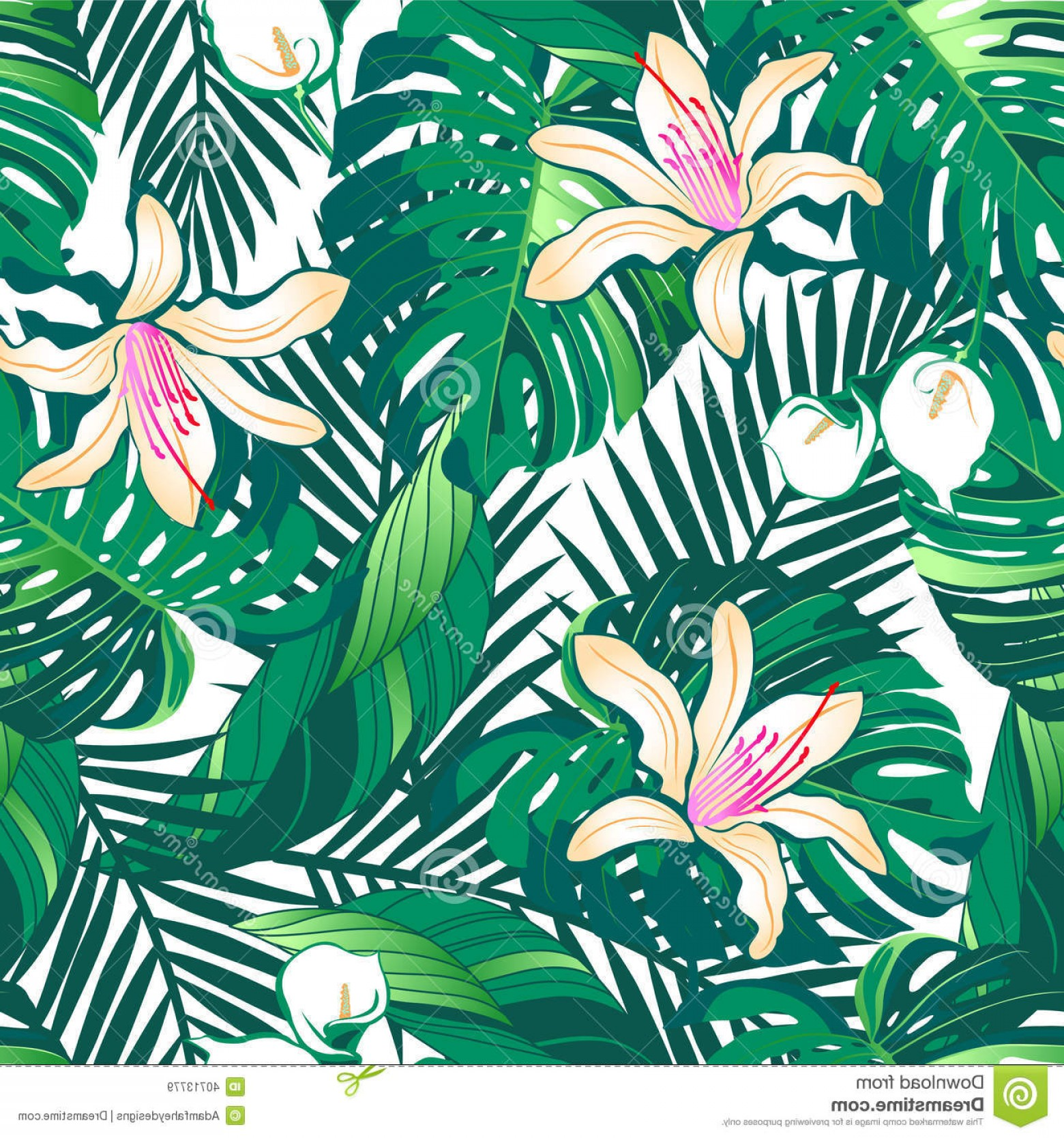 Hawaiian Flower Seamless Vector Pattern: Trendy Royalty Free Stock Images Tropical Lush Flowers Seamless Pattern White Background Image