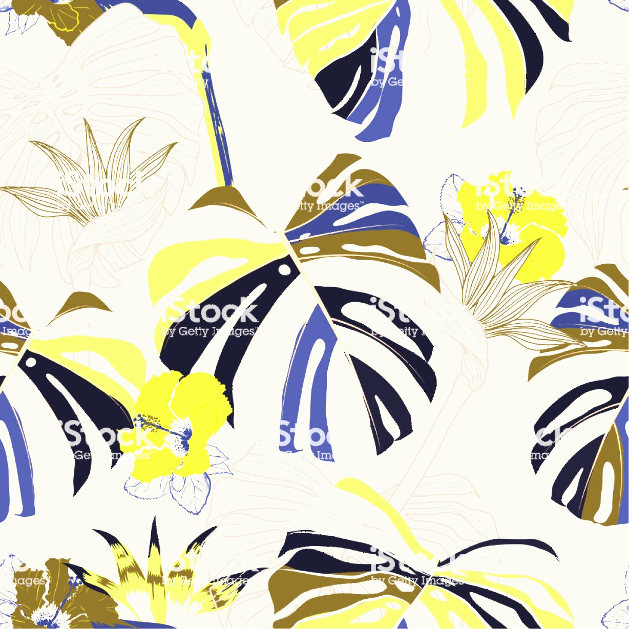 Contemporary Wallpaper Art Vector: Trendy Seamless Pattern Vector Contemporary Tropical Floral Modern Exotic Jungle Gm