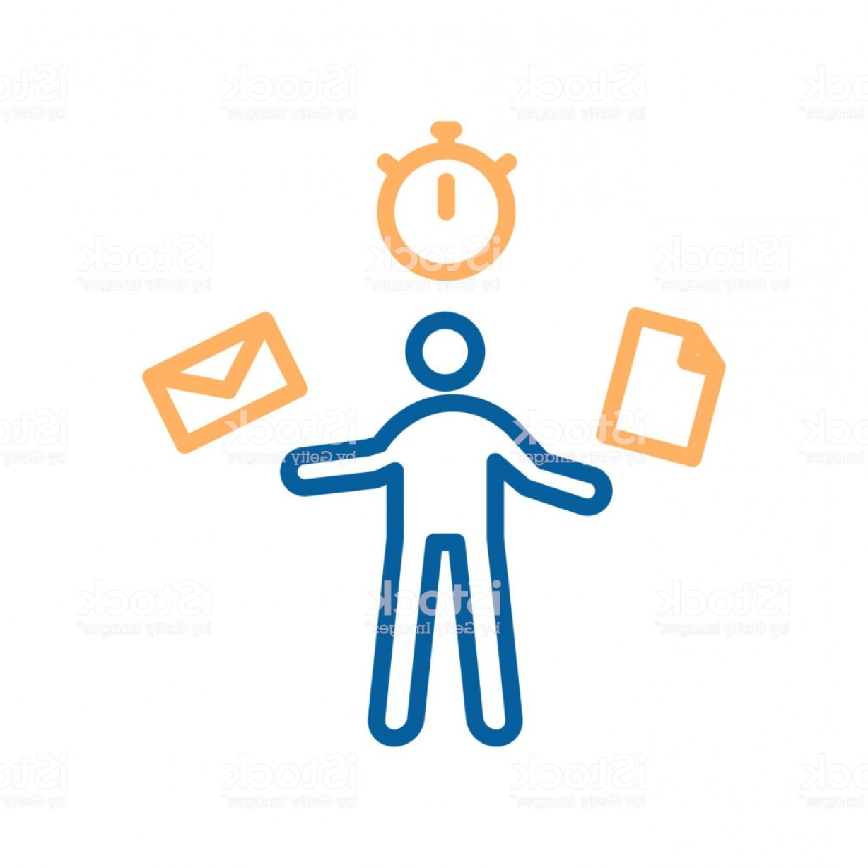 Stop Watch Vector Ai File: Trendy Thin Line Work In Progress Icon Vector Illustrator Of A Person Multi Tasking Gm