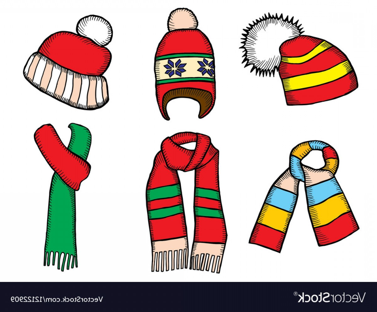 Stocking Hat Vector: Trendy Winter Clothes Santa Stocking Cap Vector