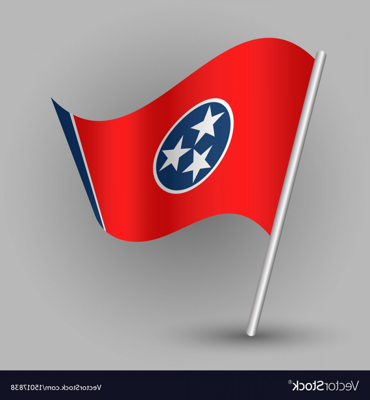 Tennessee Flag Vector: Triangle American State Tennessee Flag Vector