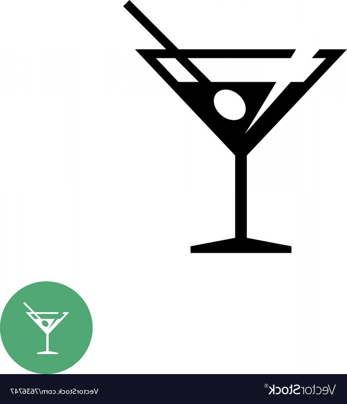 Cocktail Glasses Vector Art Decor: Triangle Martini Cocktail Glass Black Simple Icon Vector