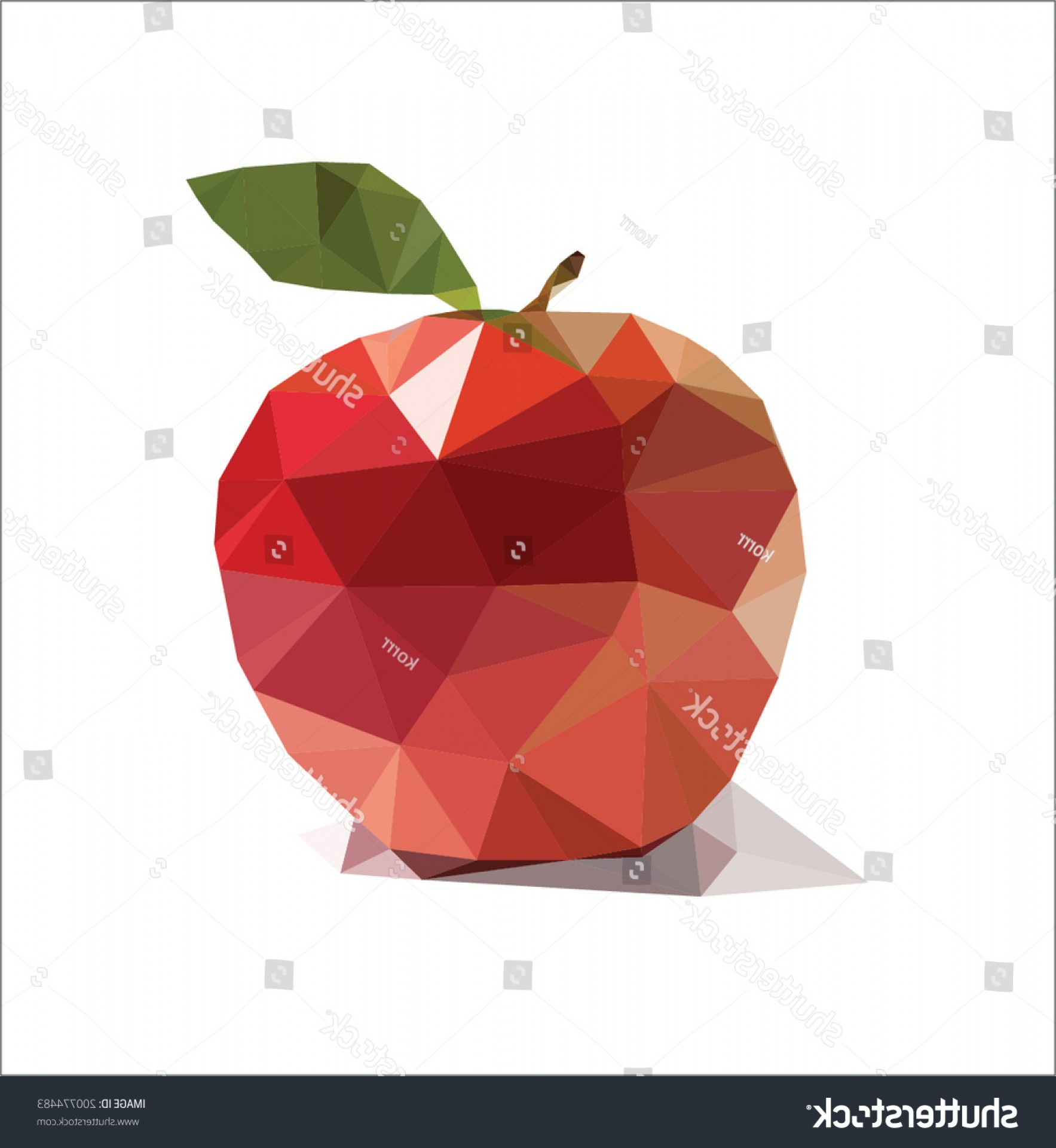 Red Apple Vector Logo: Triangle Polygonal Red Apple Vector Illustration
