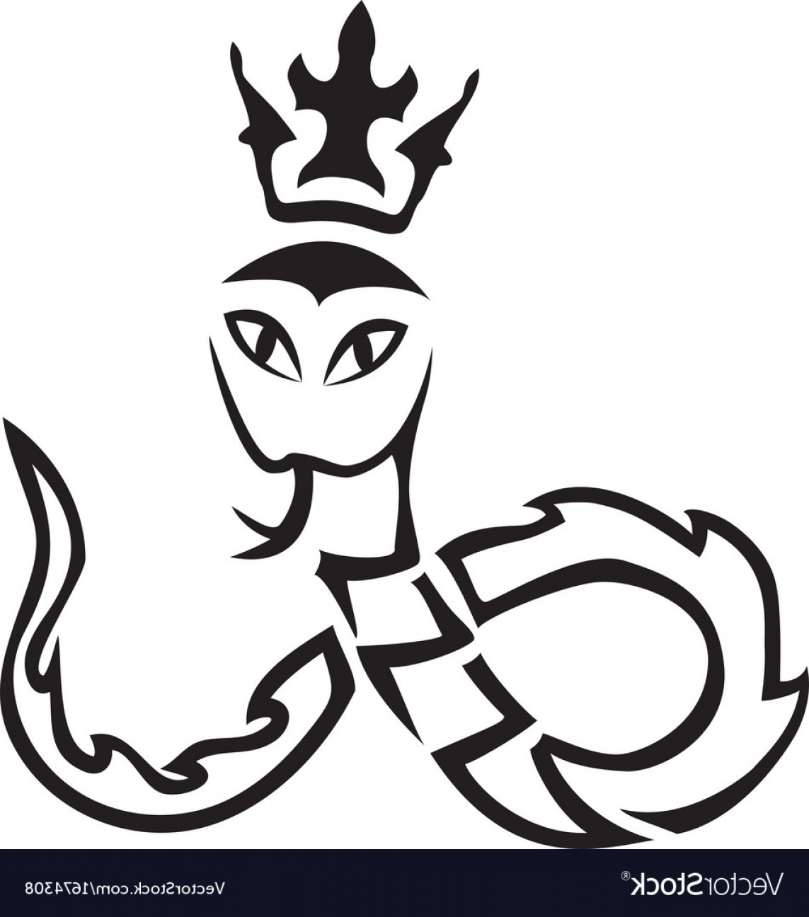 Snake Crown Vector: Tribal A Snake With A Crown Vector