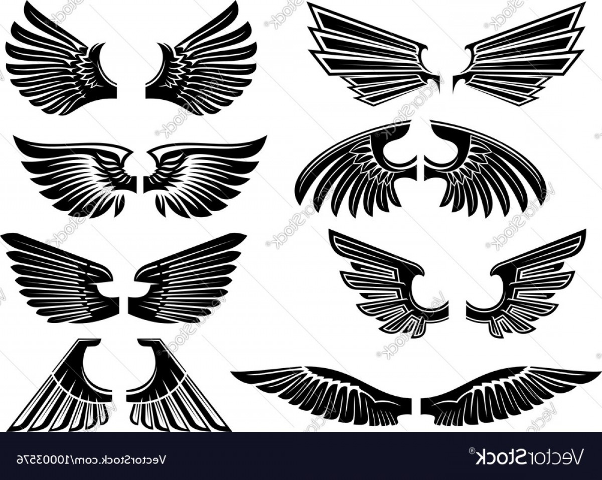 Angel Wings Tattoo Tribal Vector: Tribal Angel Wings For Heraldry Or Tattoo Design Vector