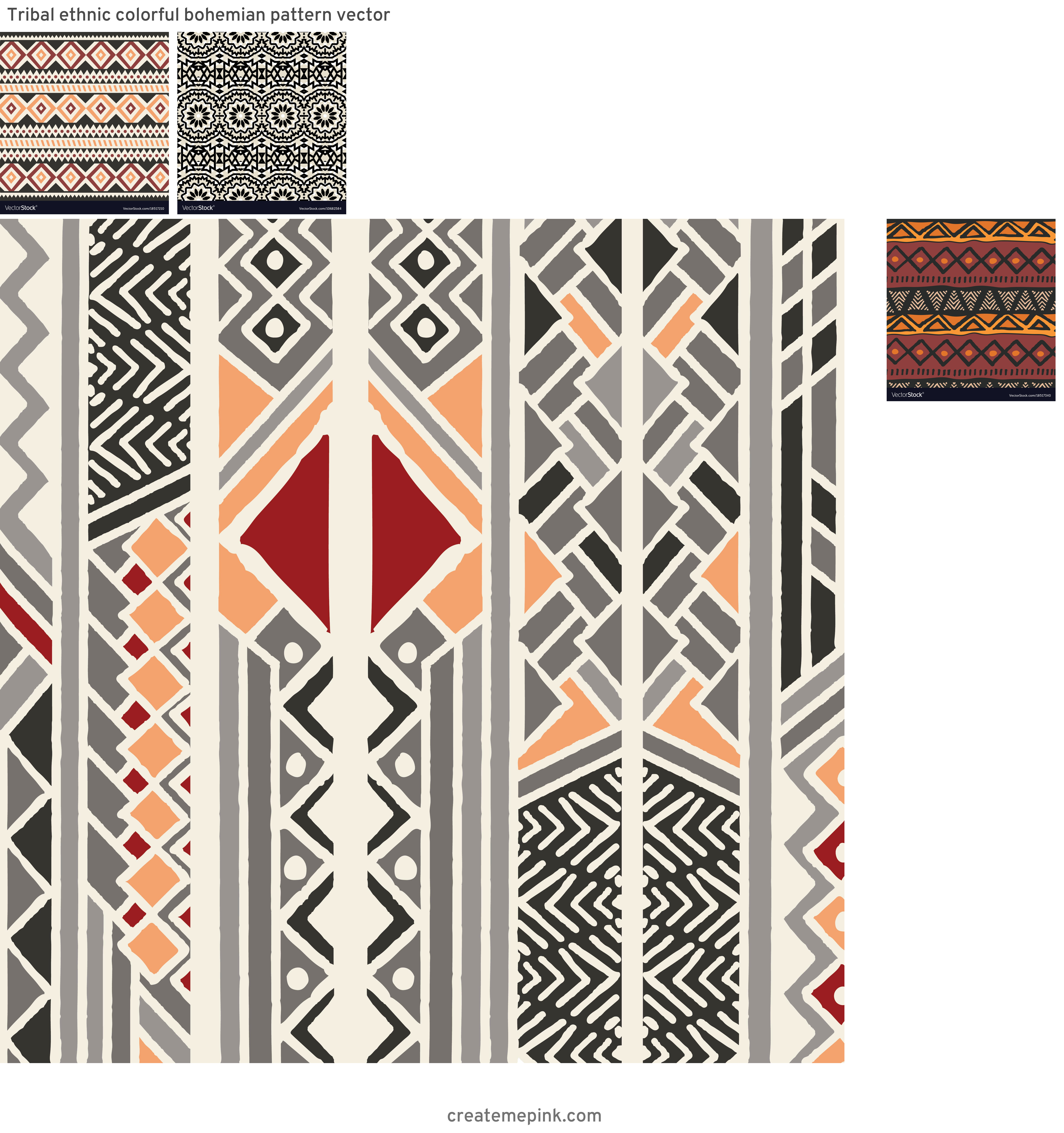 Bohemian Pattern Vector: Tribal Ethnic Colorful Bohemian Pattern Vector