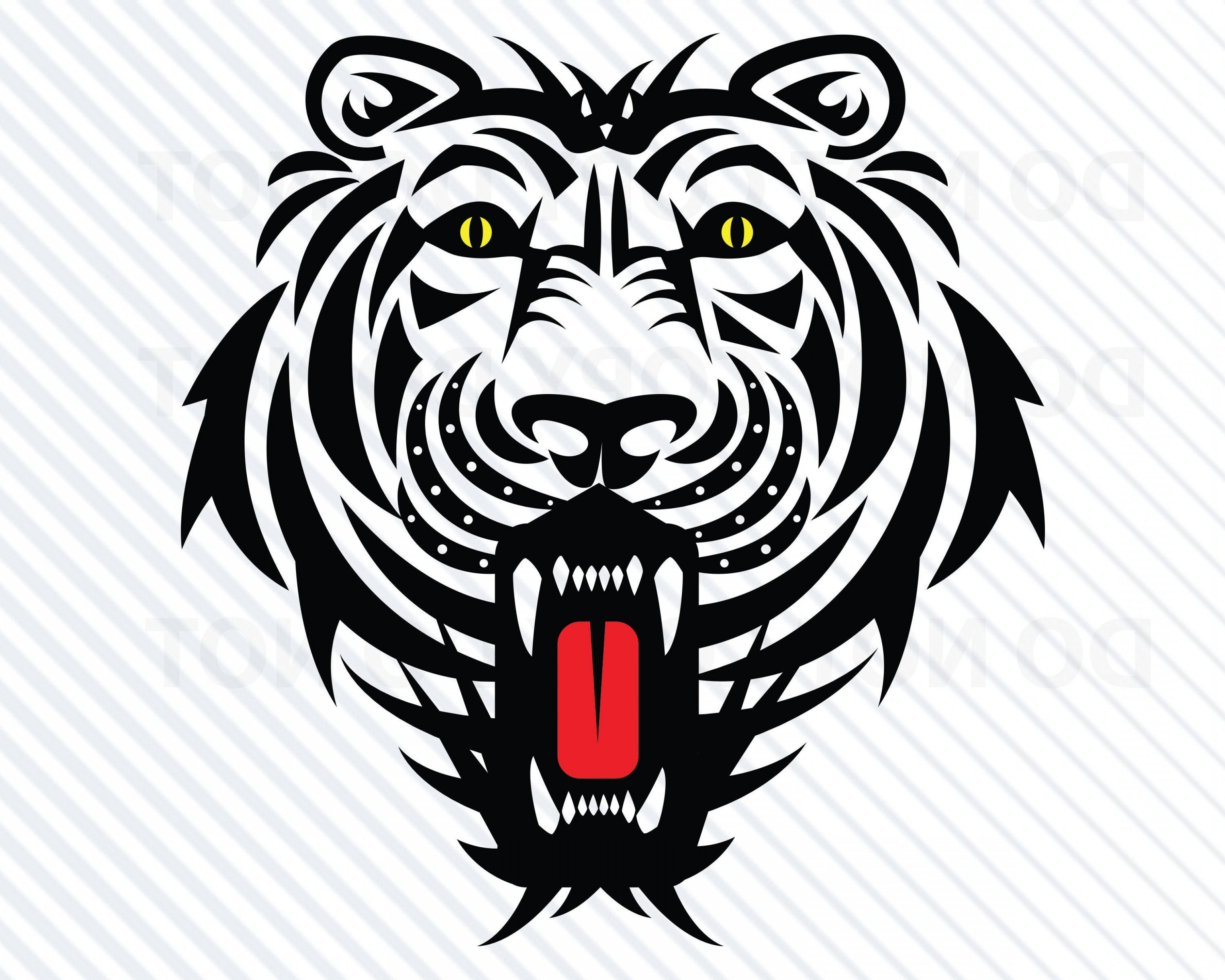 Missouri Tigers Logo Vector Black And White: Tribal Tiger Head Svg Files For Cricut
