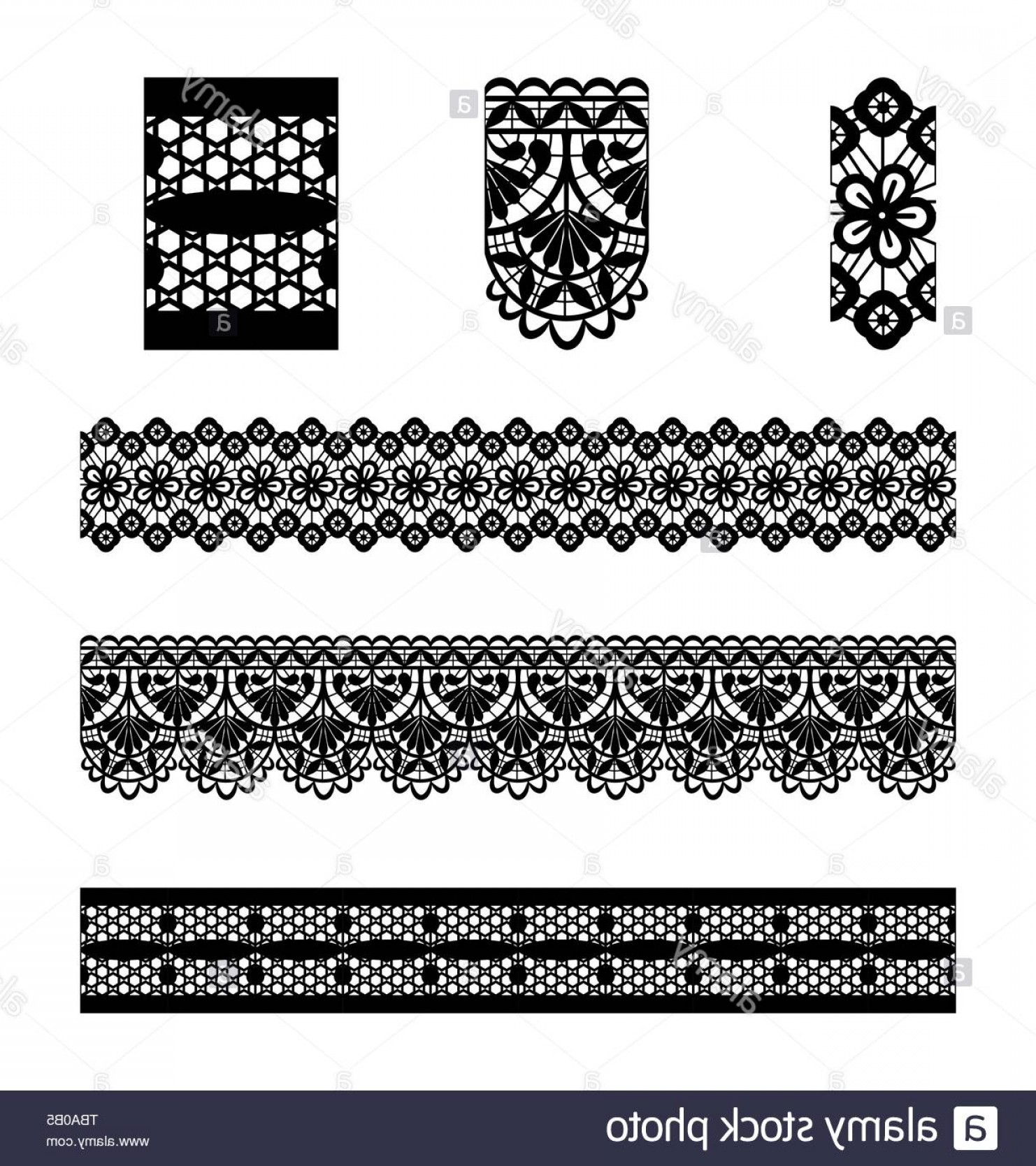 Vector Can Trim White: Trim Embroidery Lace And Elements Vector Illustration Image