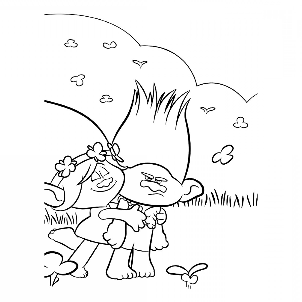 Trolls Poppy And Branch Vector Art: Trolls Coloring Pages Branch And Poppy