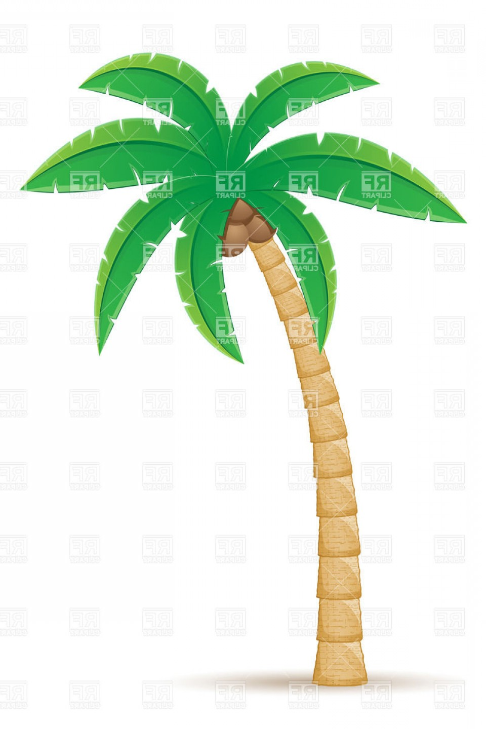 Palm Tree Clip Art Vector: Tropical Coconut Palm Tree Isolated On White Background Vector Clipart
