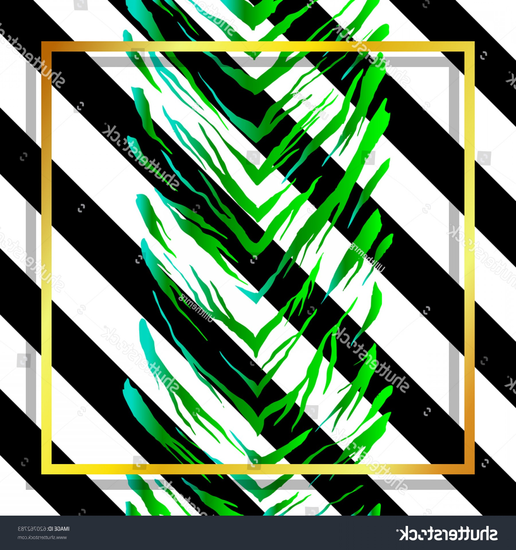 Green Tiger Vector: Tropical Green Tiger Pattern On Striped