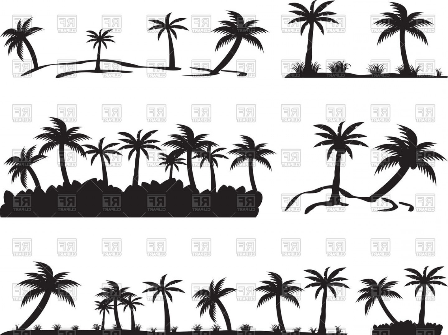 Simple Palm Tree Vector: Tropical Islands With Palm Trees Vector Clipart