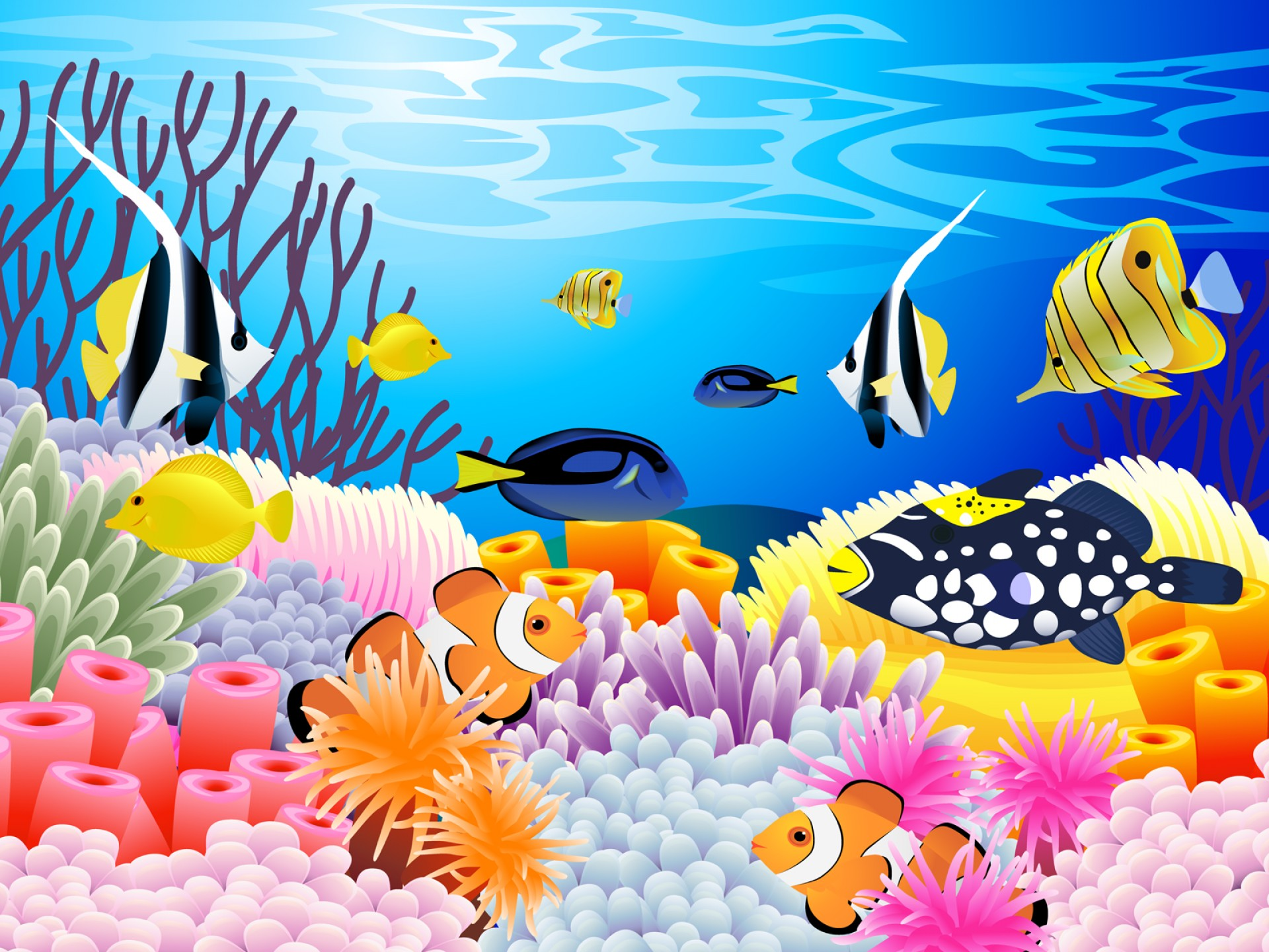 Underwater Sea Vector Art: Tropical Ocean Vector Sea Reef Underwater Coral Art Color Motion Fish Backgrounds