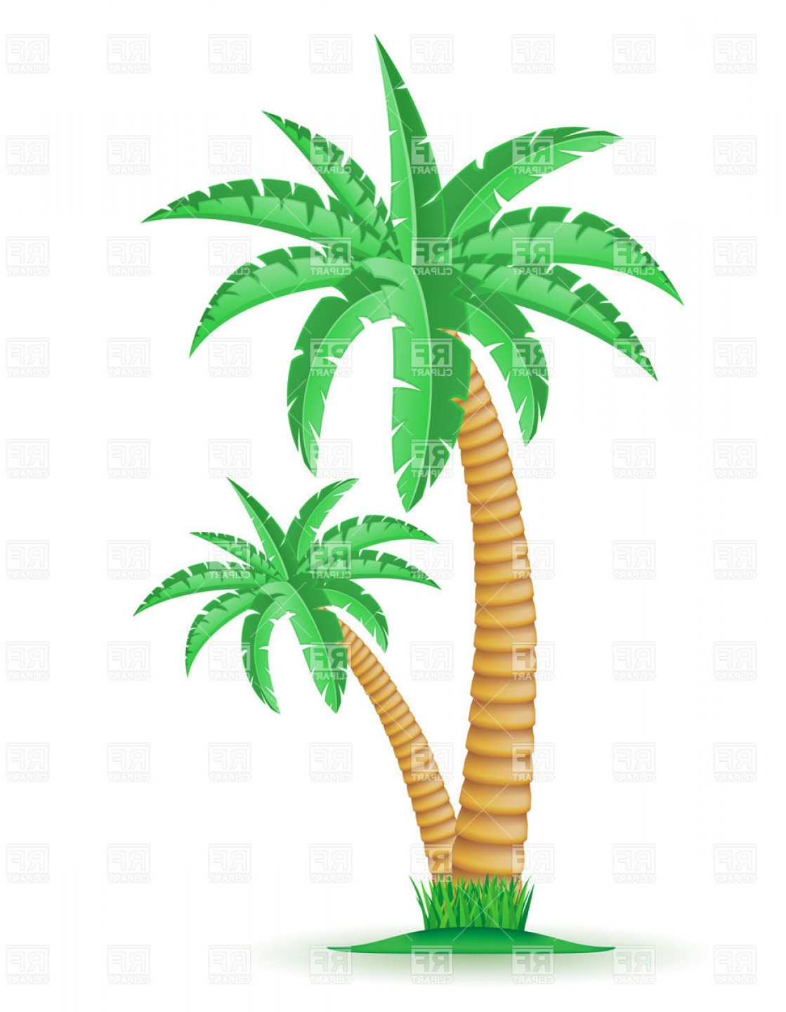 Palm Tree Clip Art Vector: Tropical Palm Trees Vector Clipart