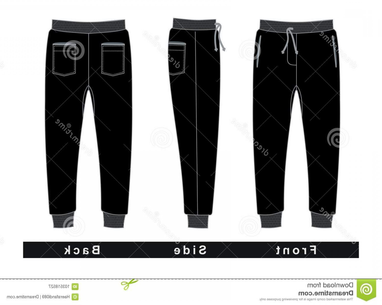 Vector Black Jeans: Trousers Pants Men Front Side Back Black White Vector Image Trousers Pants Men Black Vector Image Image