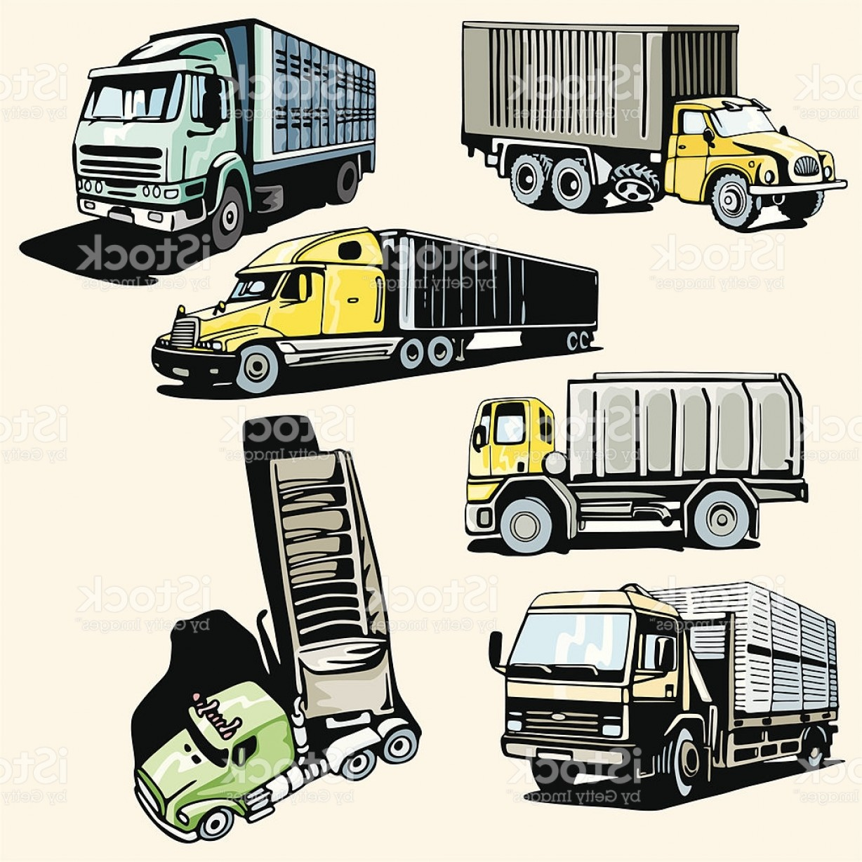 Vector Semi Tanker: Truck Illustrations Xxxix Container Trucks Gm