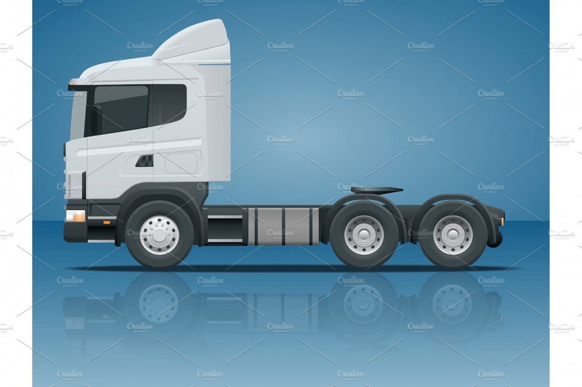 Vector Truck And Trailer Hauling: Truck Tractor Or Semi Trailer Truck