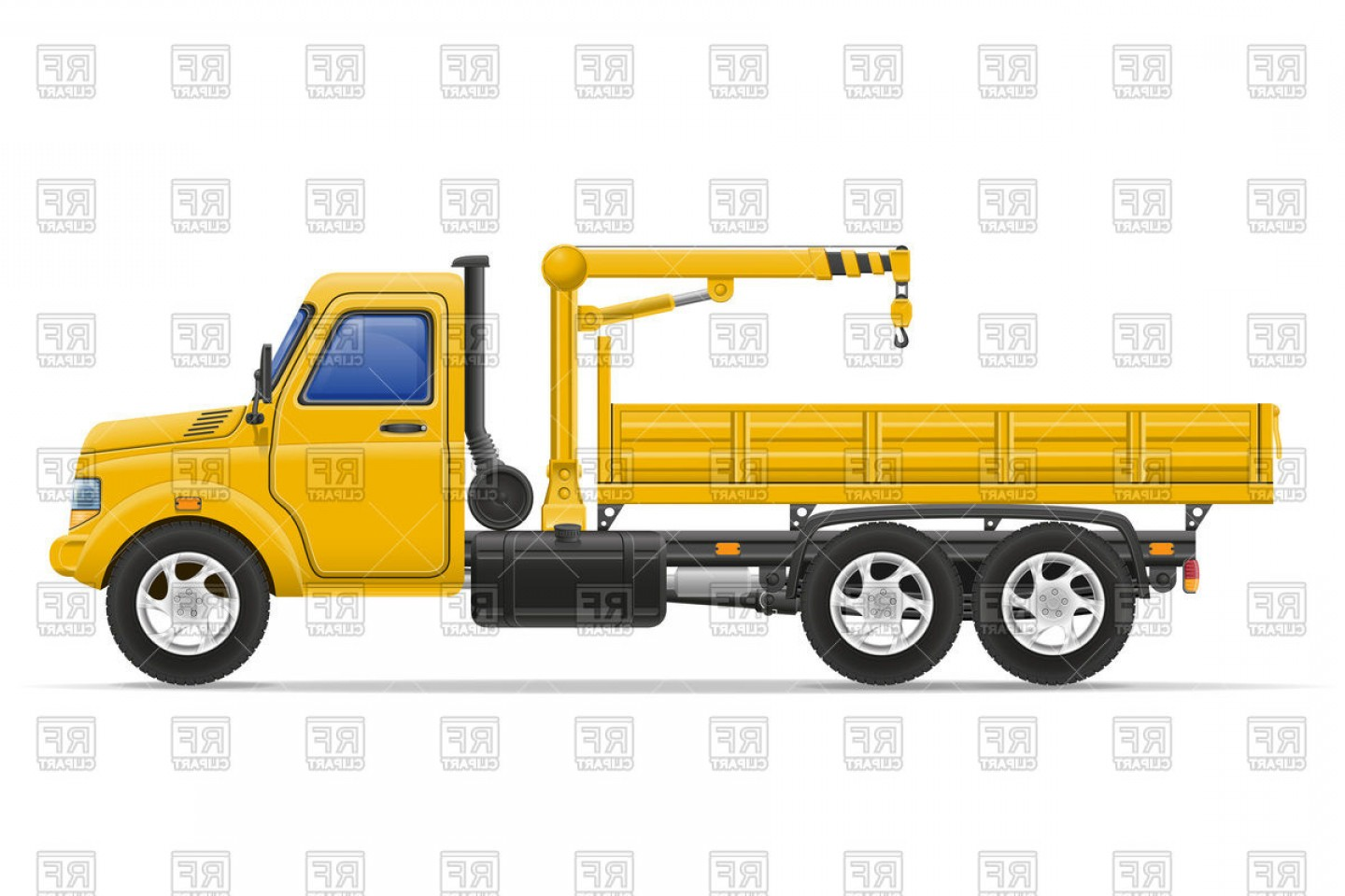 Towing Vector Clip Art: Truck With Crane For Lifting Goods Tow Car Vector Clipart