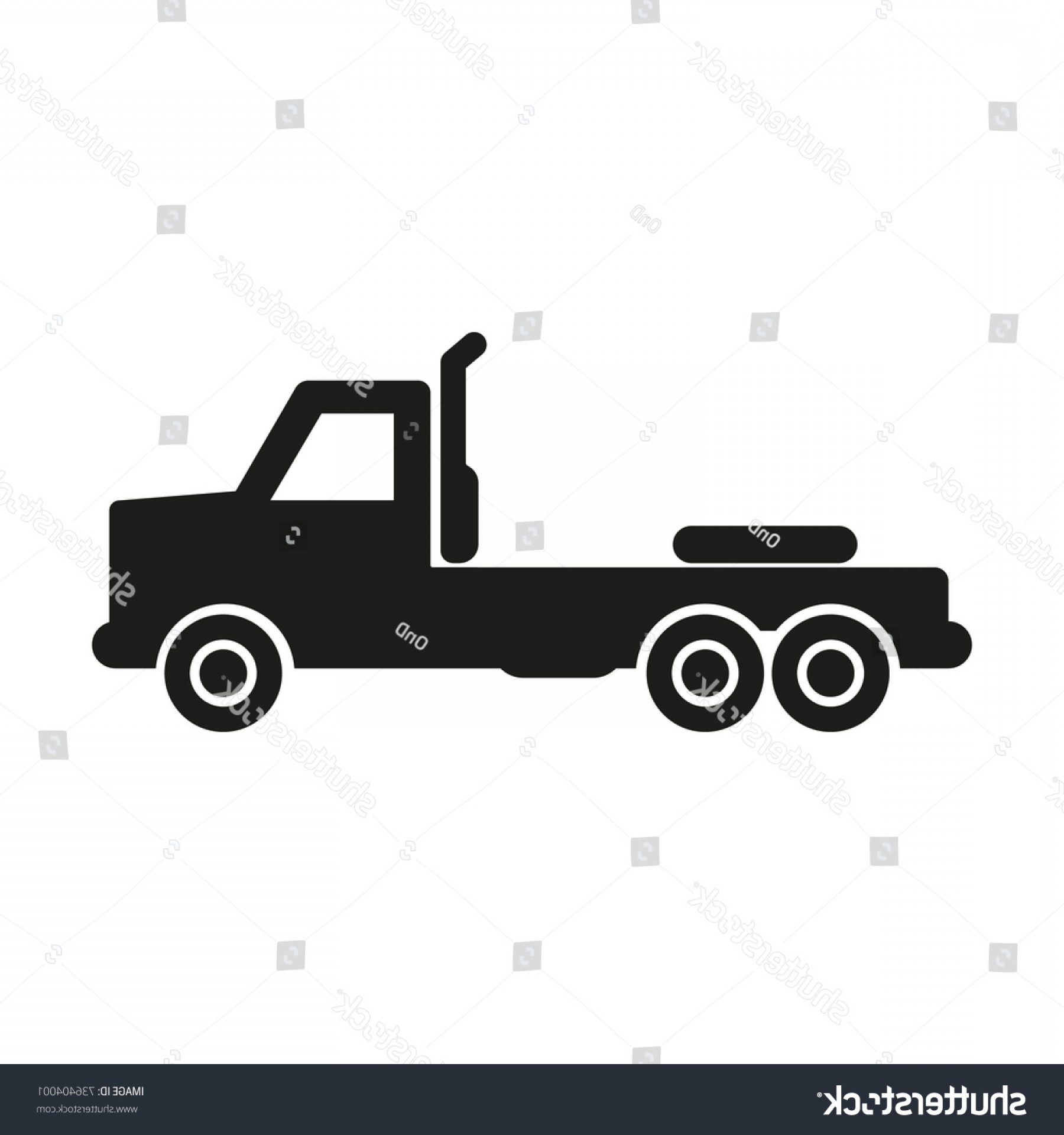 Vector Truck And Trailer Hauling: Truck Without Trailer Simple Icon Silhouette