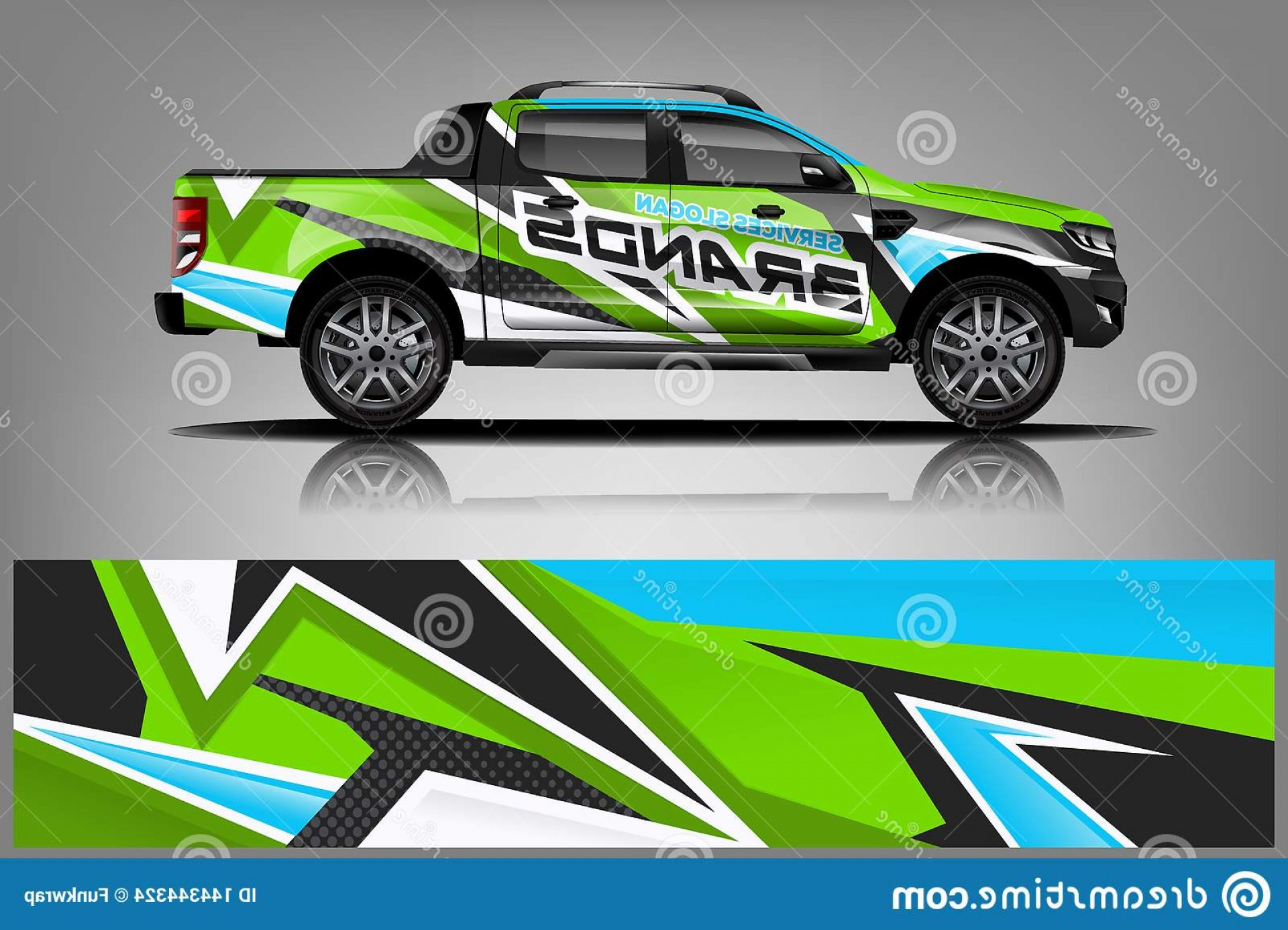 Vector Car Wrapped: Truck Wrap Design Sticker Decal Company Vector Format Image