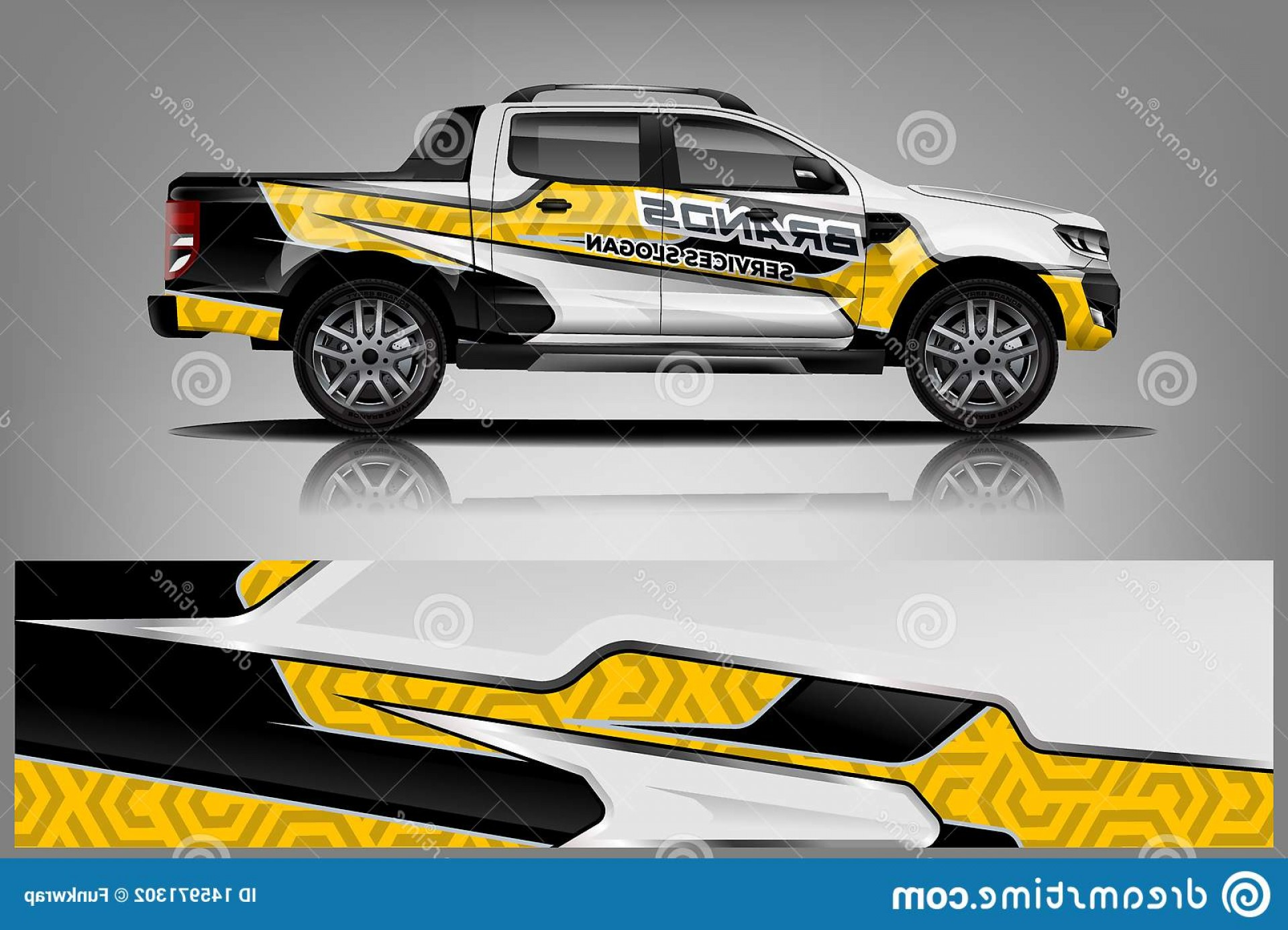 Vector Car Wrapped: Truck Wrap Livery Design Ready Print Wrap Design Truck Double Cabin Eps Jpeg High Resolution Vector Truck Wrap Livery Design Image