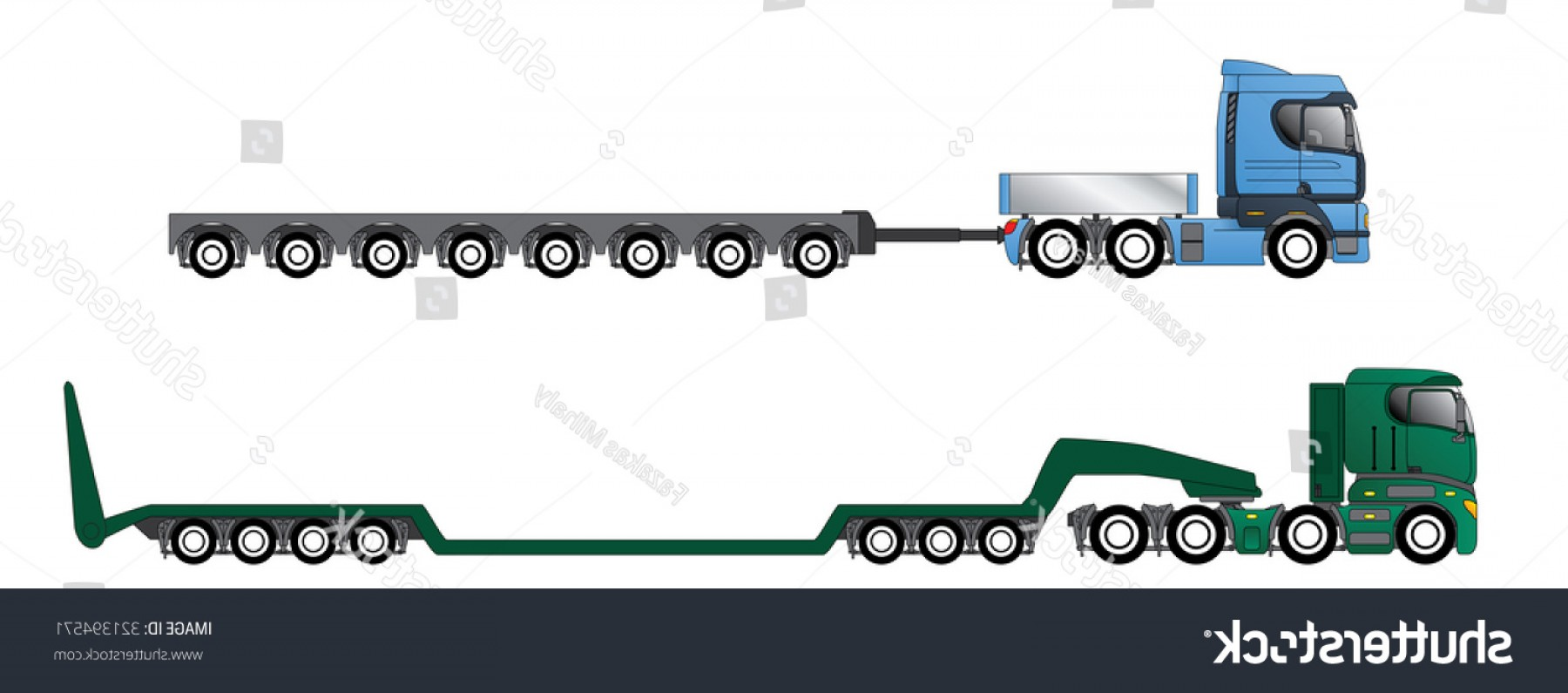 Vector Truck And Trailer Hauling: Trucks Oversize Overweight Hauling Trailers