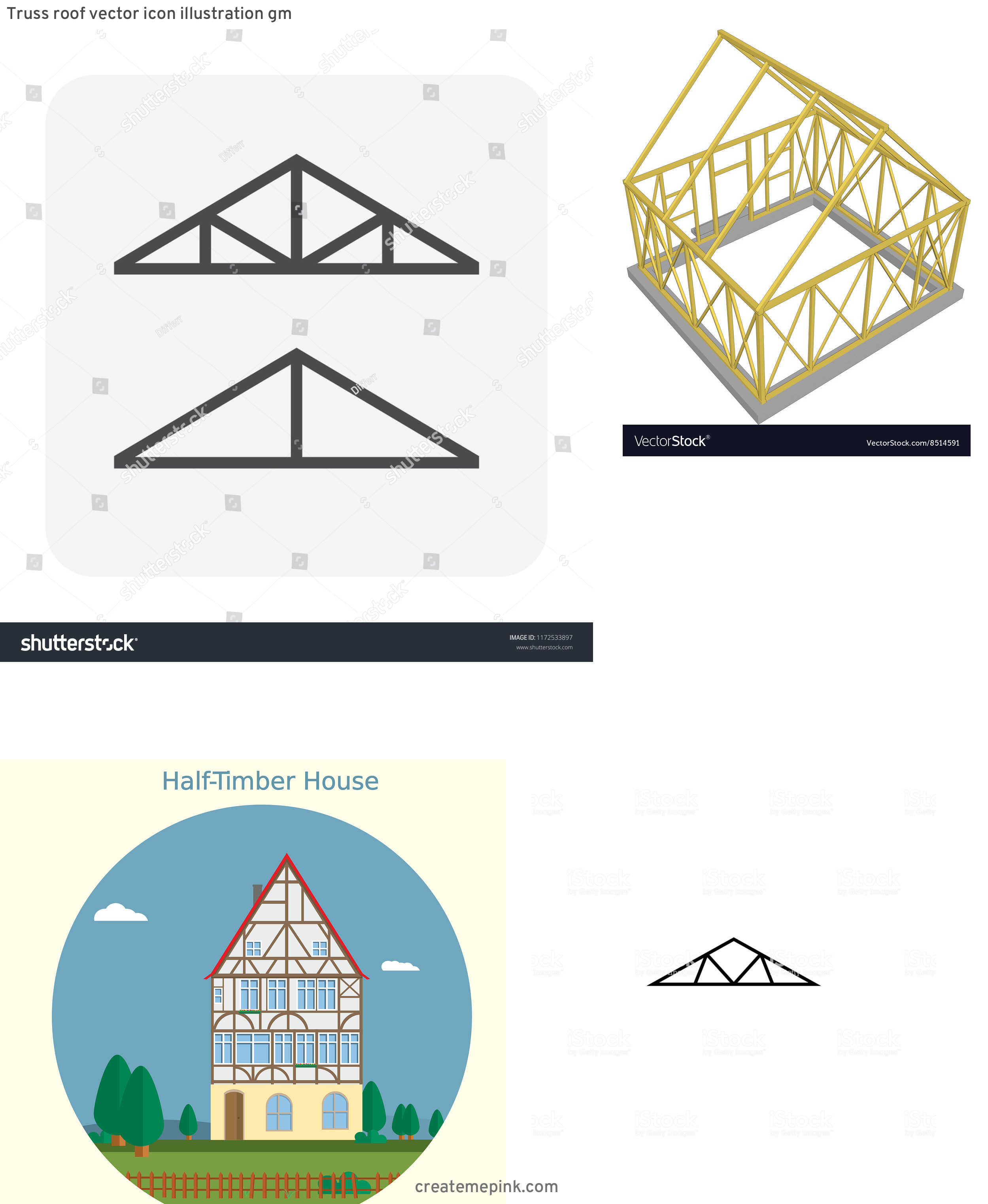 House Truss Vector: Truss Roof Vector Icon Illustration Gm