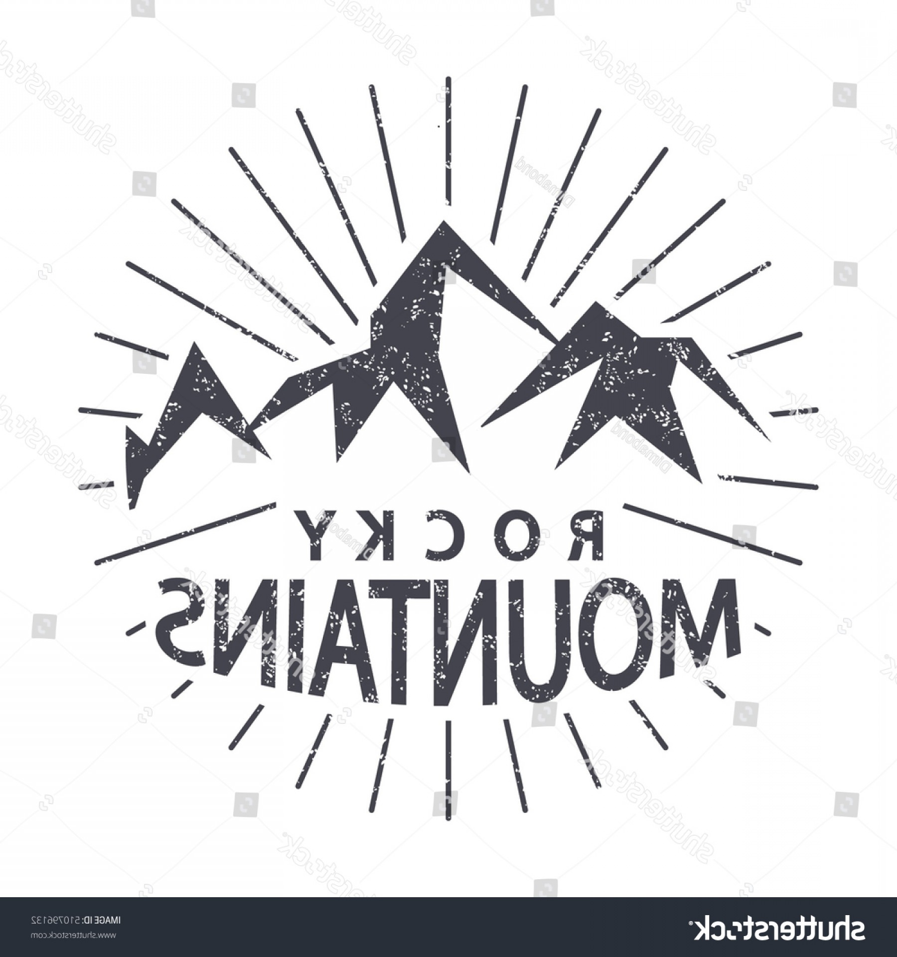 Rocky Mountain Line Art Vector: Tshirt Graphics Typography Rocky Mountains Colorado
