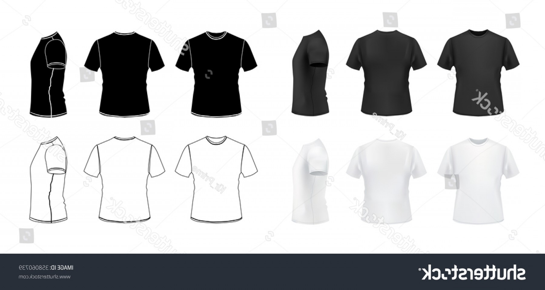 Vector Woman Black Crew Shirt: Tshirt Mockup Set D Realistic Outline