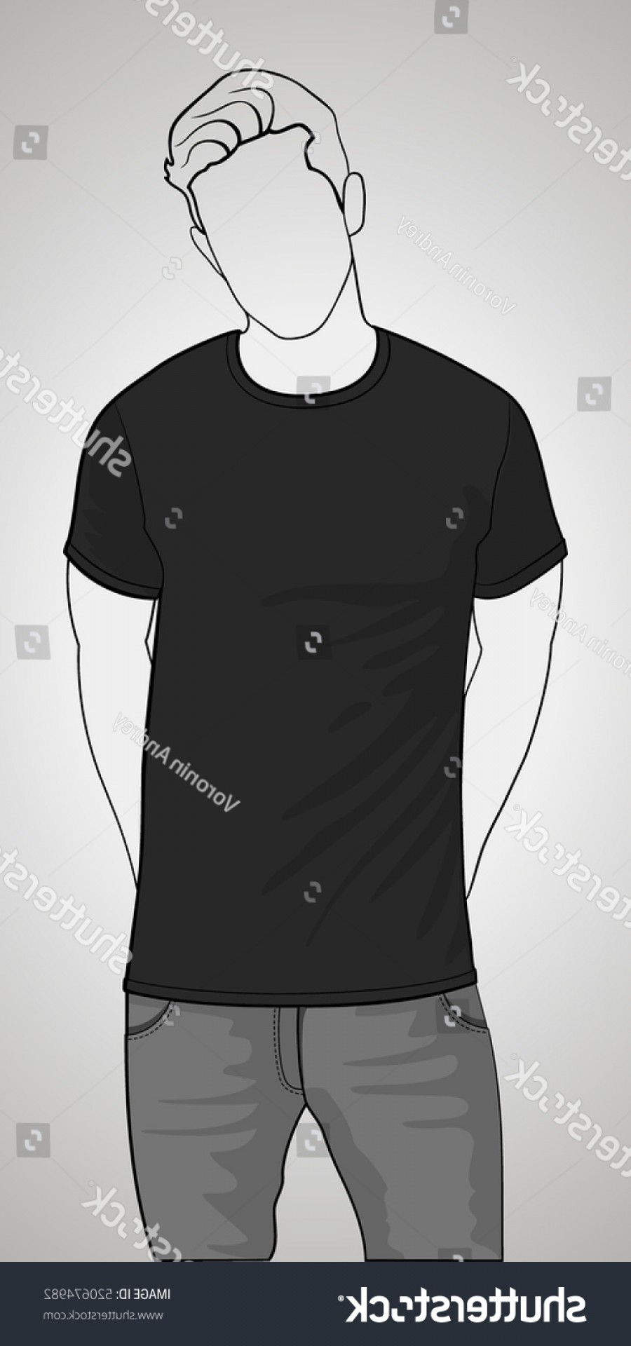 Vector Pocket Silhouette Shirt: Tshirt Template Front View On Man