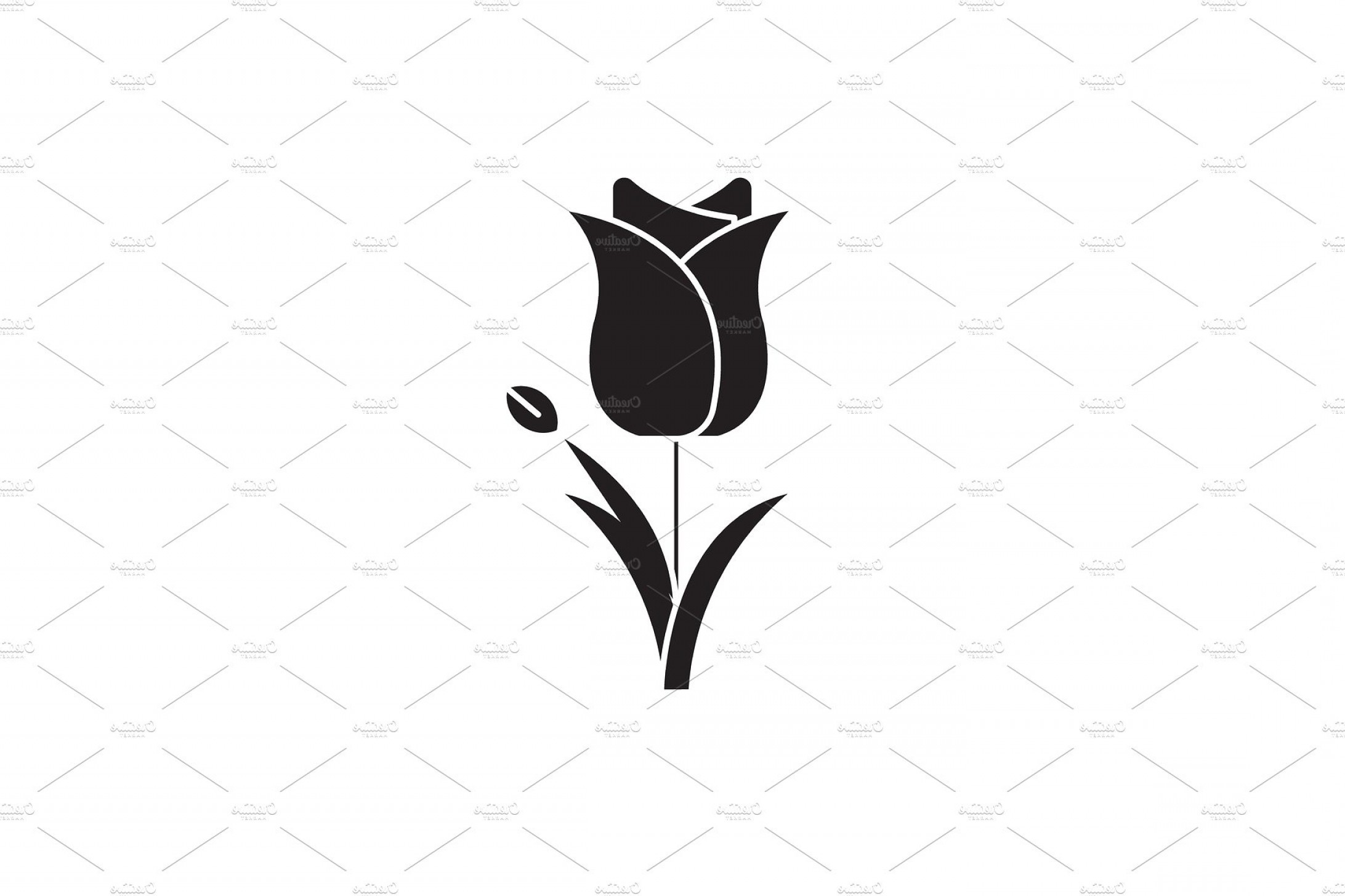Tulip Icon Vector: Tulip Black Vector Concept Icon