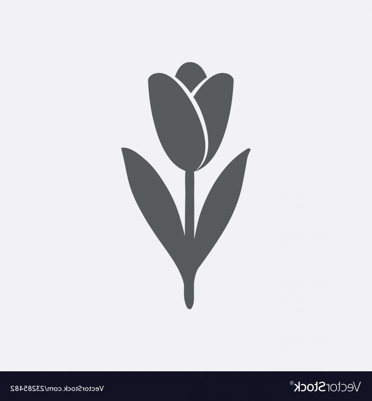 Tulip Icon Vector: Tulip Icon In Shades Of Gray Vector
