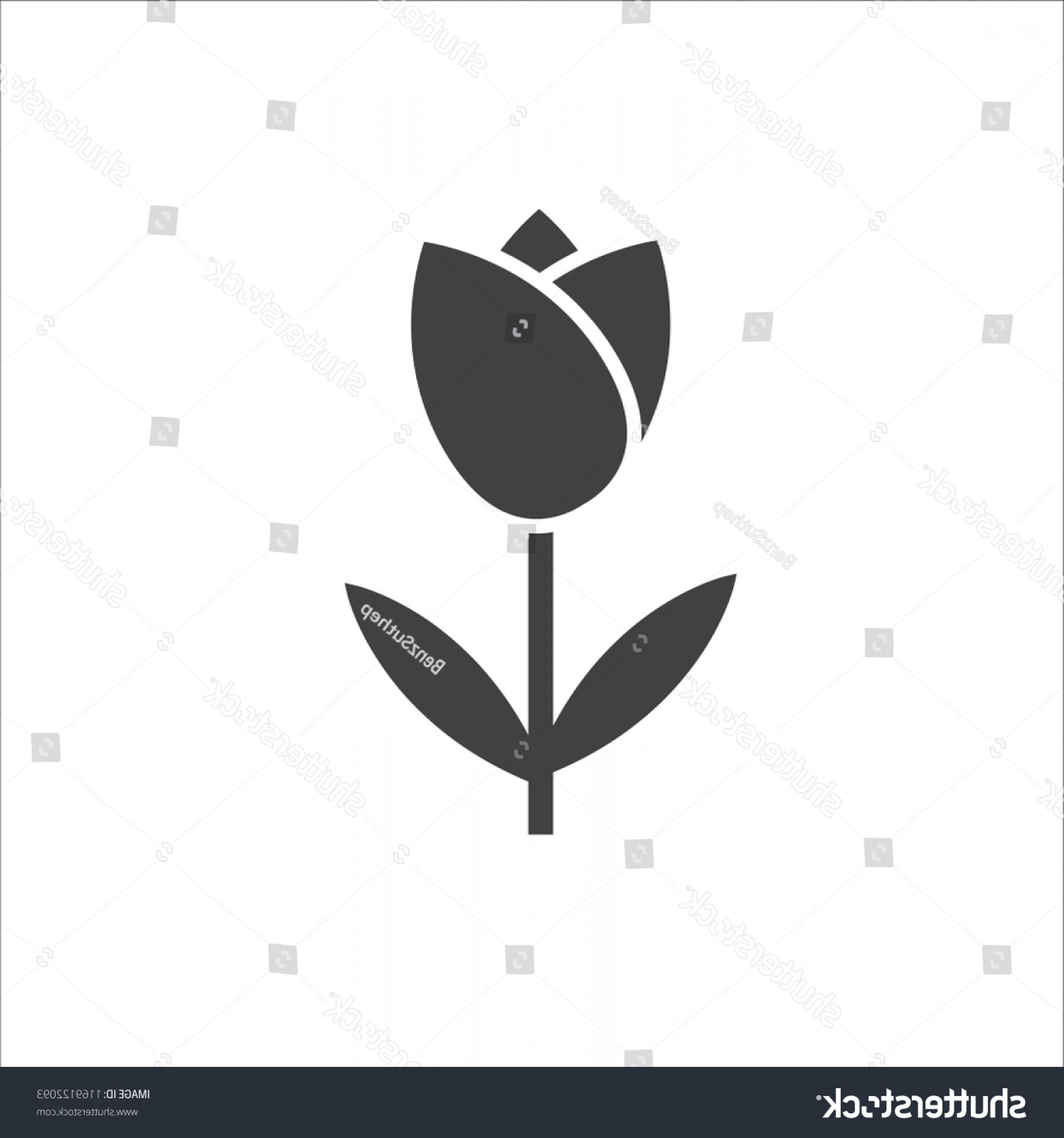 Tulip Icon Vector: Tulip Icon Vector Isolated On White