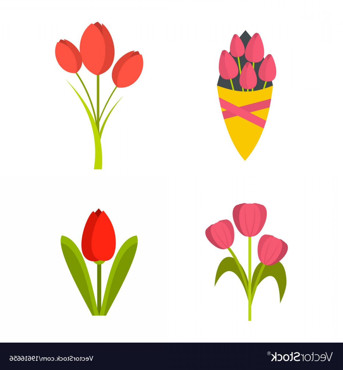Tulip Icon Vector: Tulips Icon Set Flat Style Vector