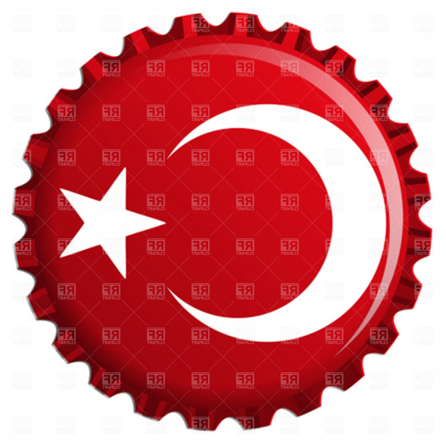 Turkey Logo Vector Art: Turkey Stylized Flag On Bottle Cap Vector Clipart